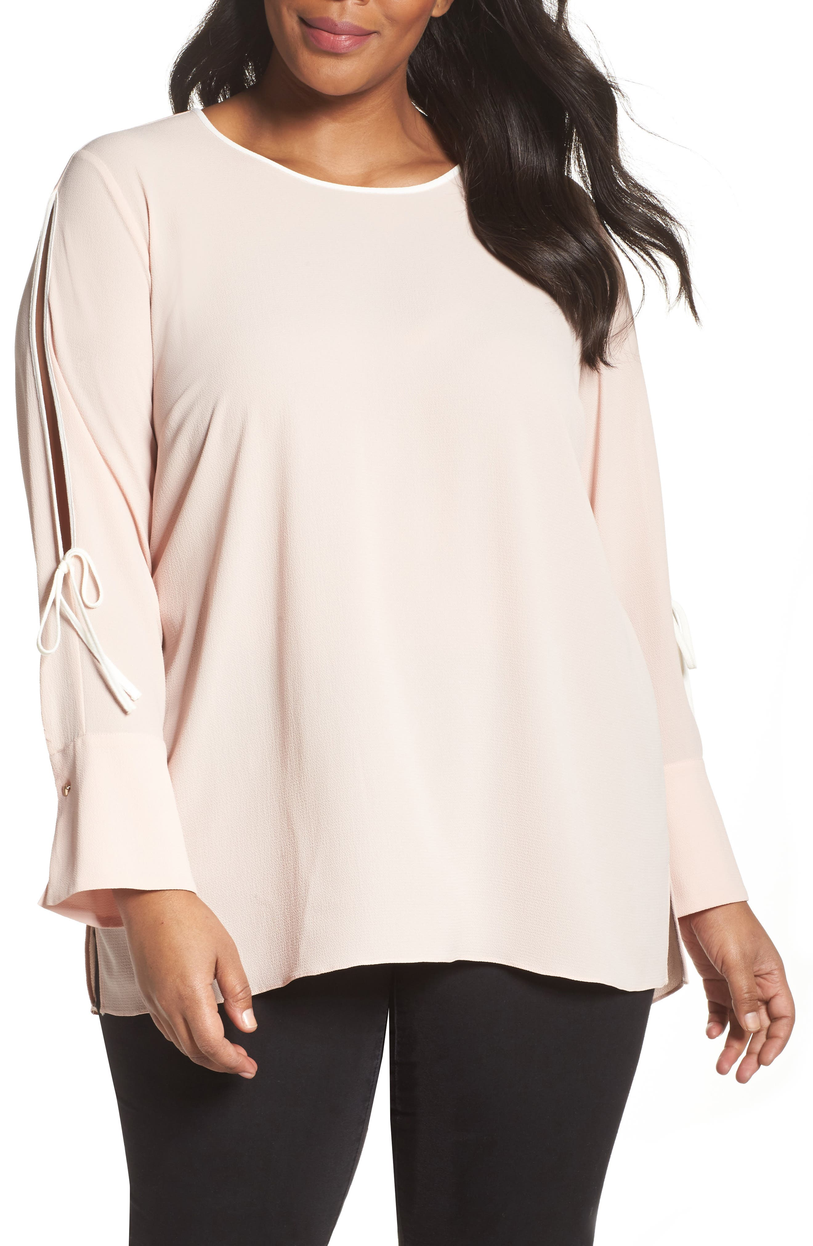 Main Image - Vince Camuto Bell Cuff Split Sleeve Shirt (Plus Size)