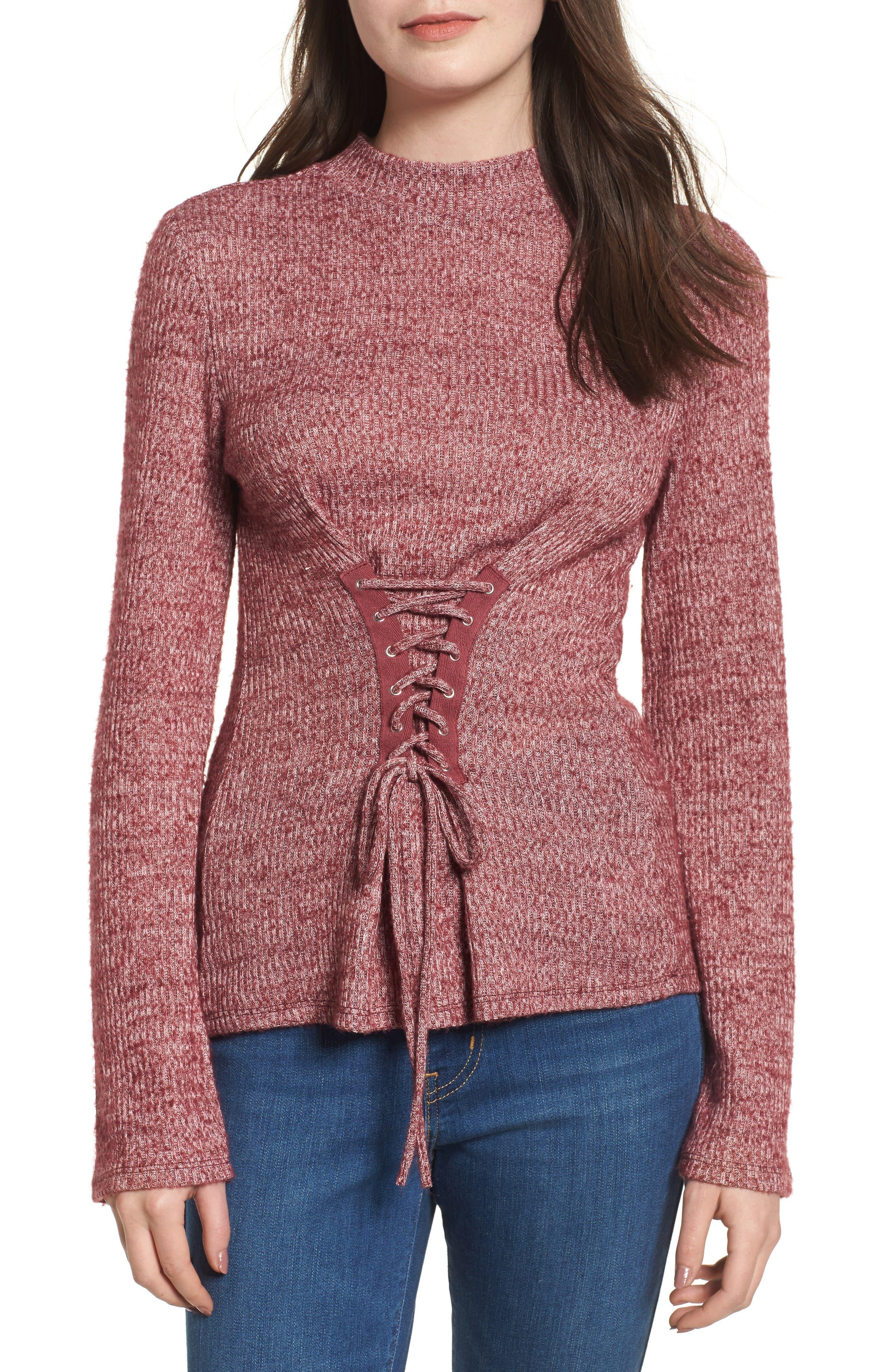 Rib Knit Corset Top,                             Main thumbnail 1, color,                             Burgundy Royale