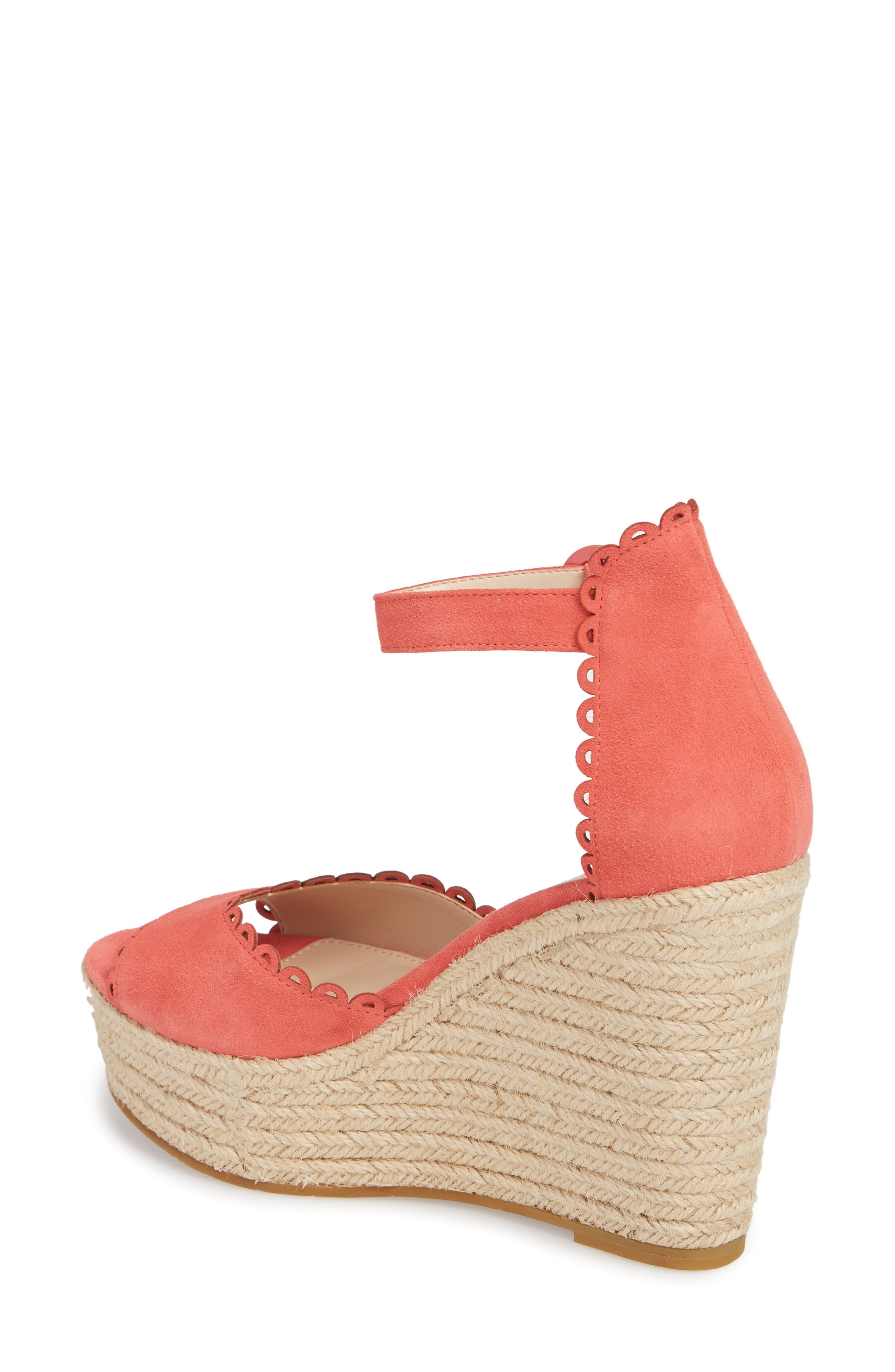 Raine Platform Espadrille Sandal,                             Alternate thumbnail 2, color,                             Flamingo Suede