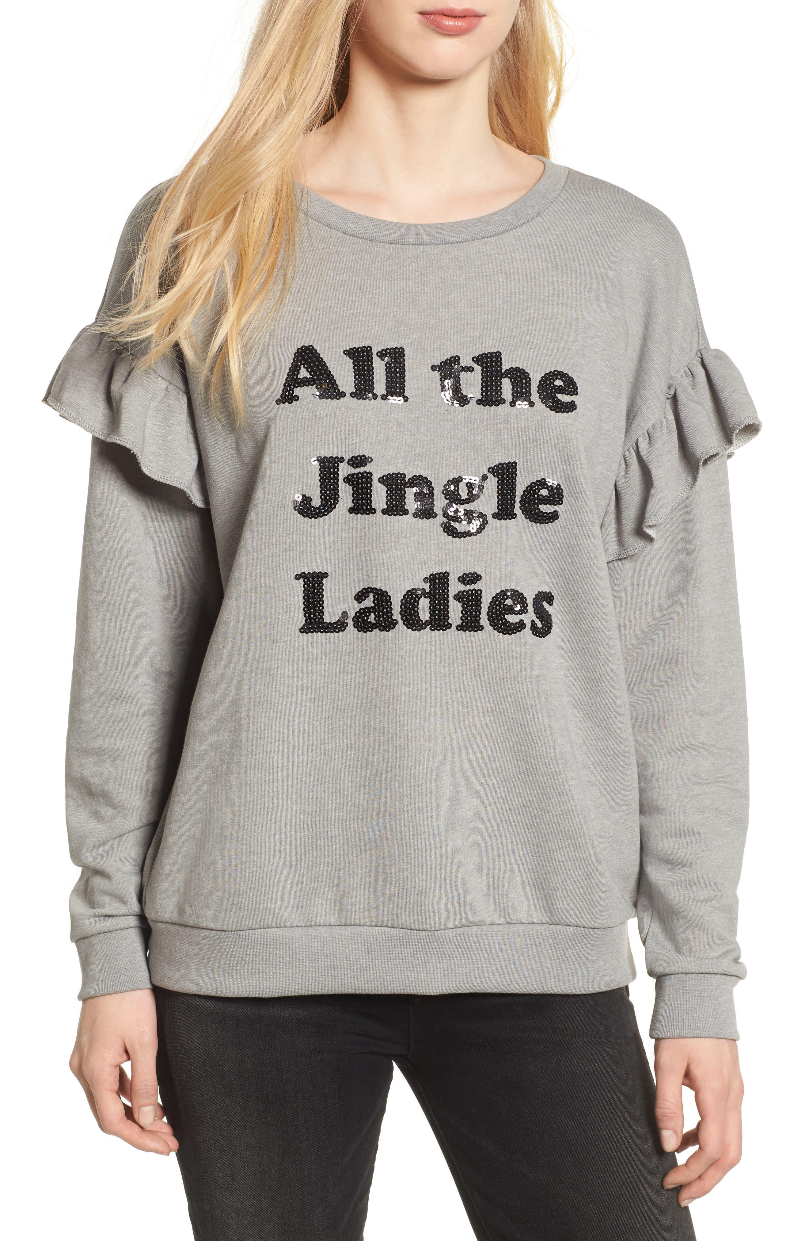All the Jingle Ladies Sweatshirt,                         Main,                         color, Grey