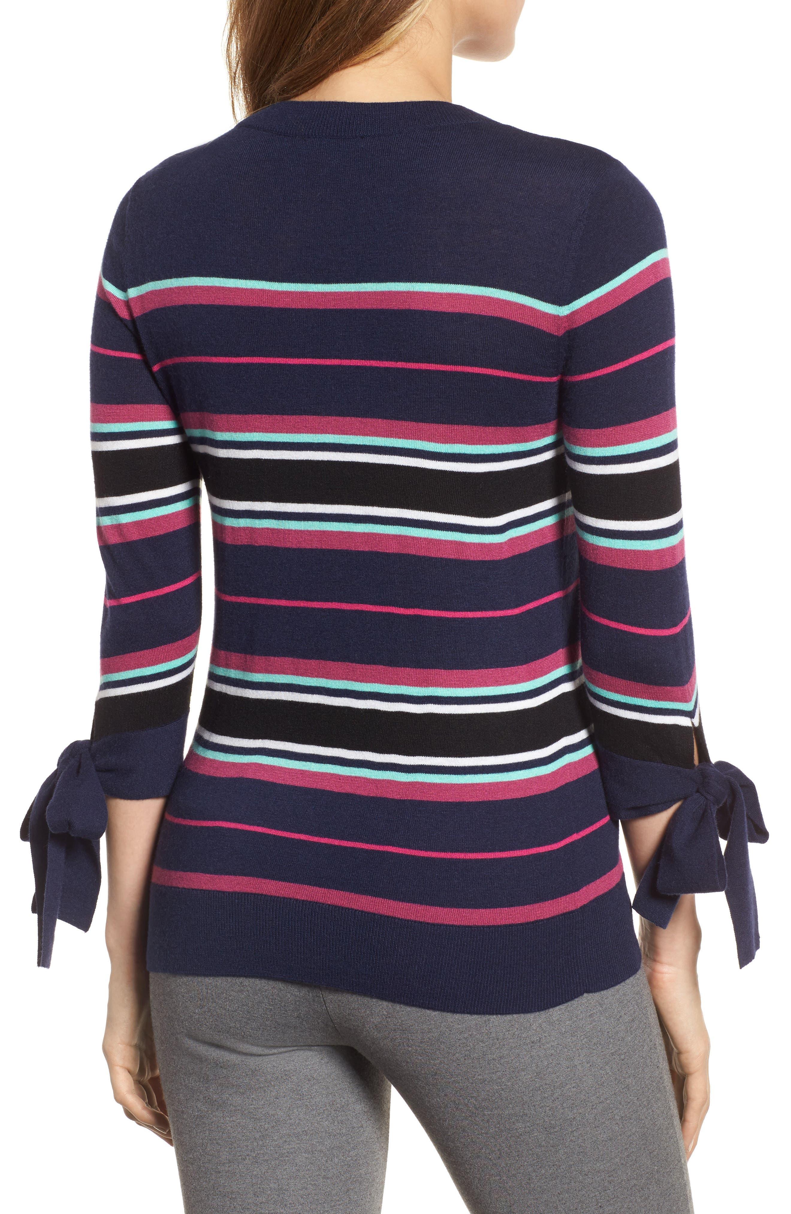 Tie Sleeve Crewneck Sweater,                             Alternate thumbnail 2, color,                             Navy/ Pink Multi Stripe