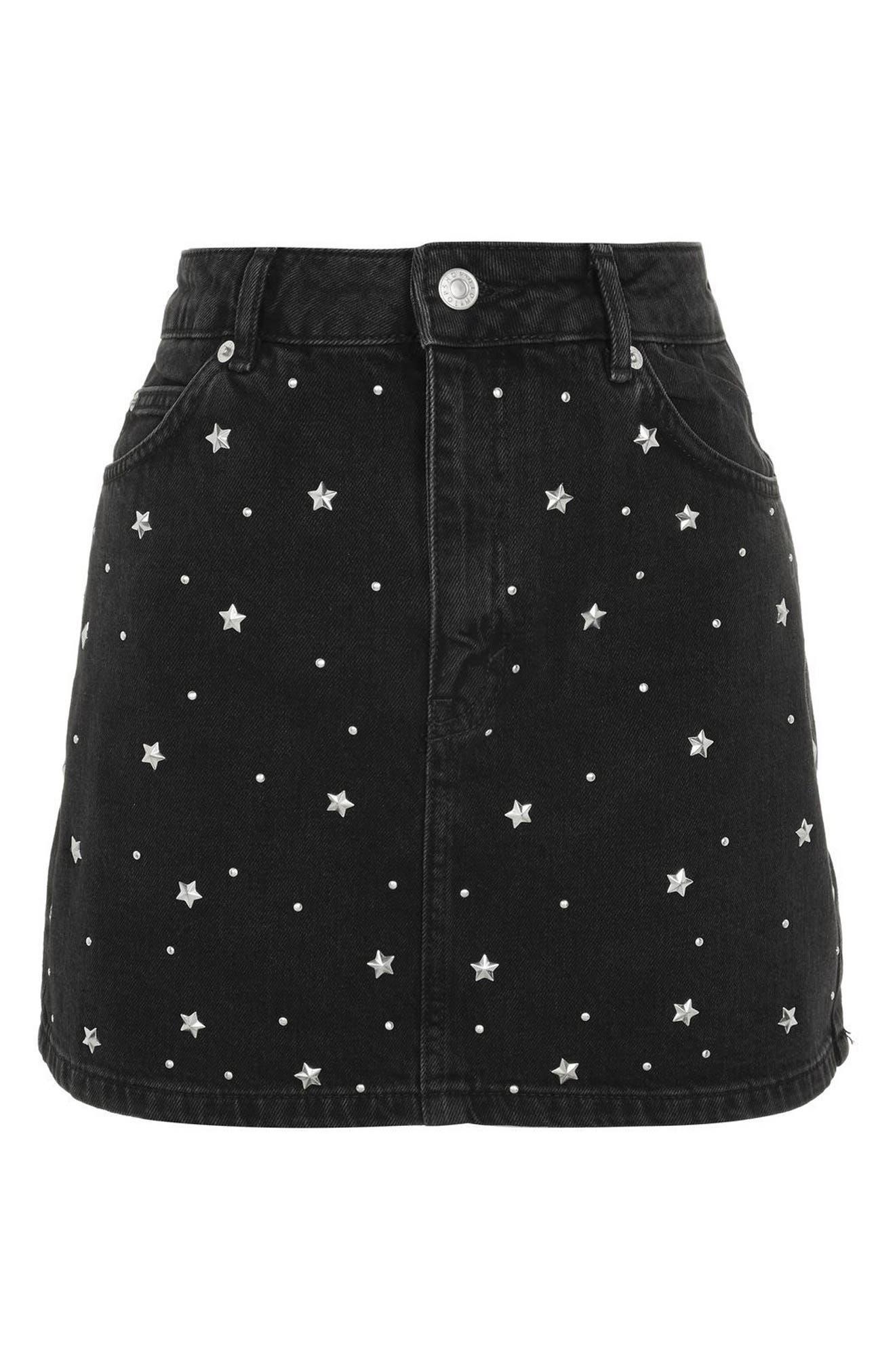 Star Studded Denim Skirt,                             Alternate thumbnail 4, color,                             Washed Black