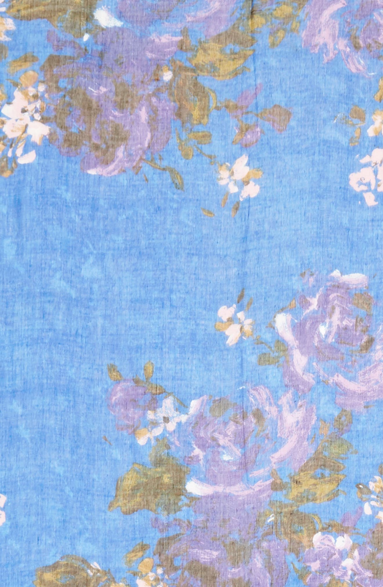 Print Modal & Silk Scarf,                             Alternate thumbnail 4, color,                             Blue Haute Blooms