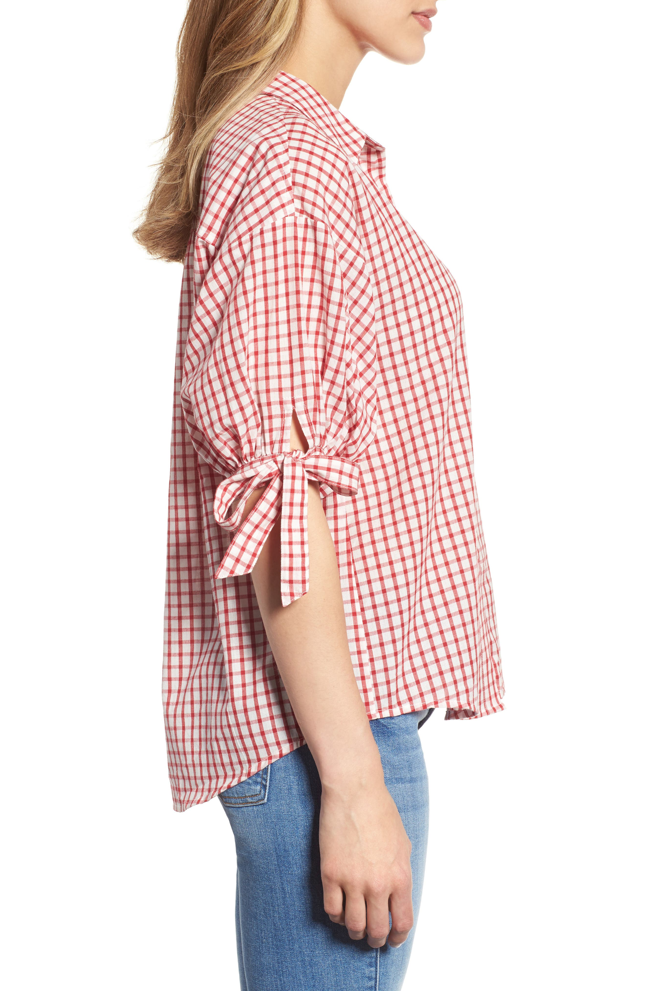 Check Button-Down Shirt,                             Alternate thumbnail 3, color,                             Red