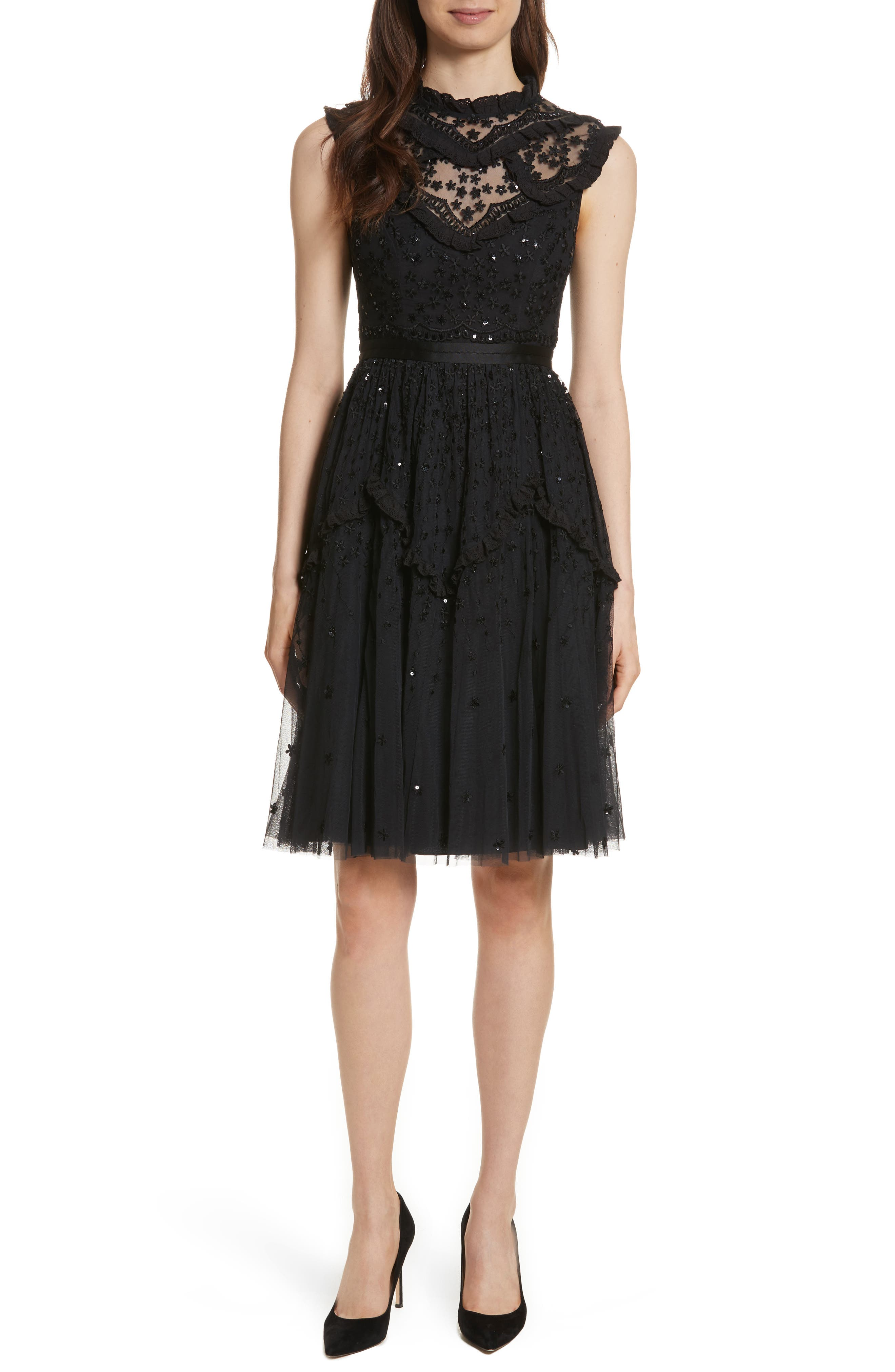 Daisy Shimmer Dress,                         Main,                         color, Washed Black