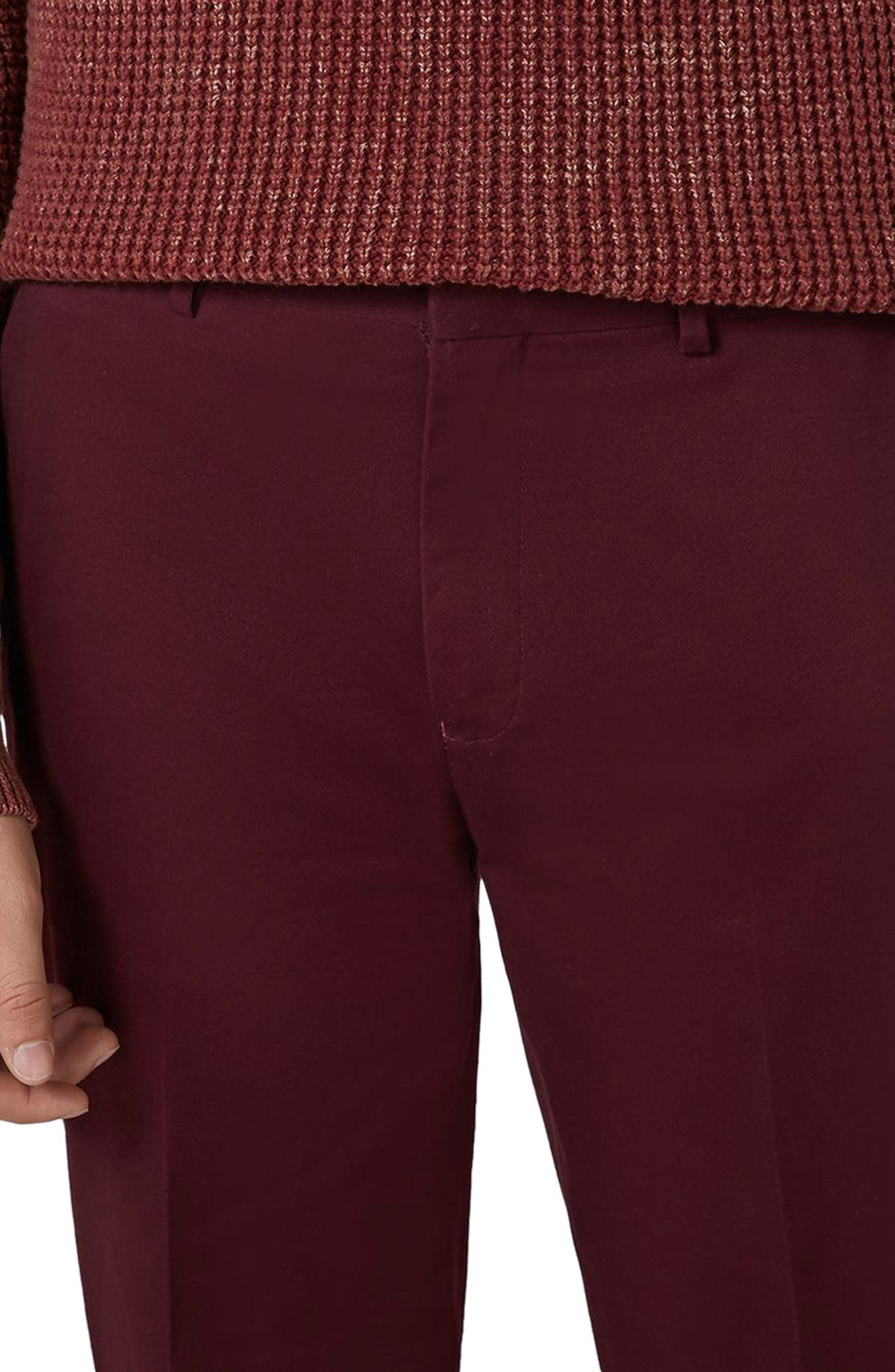 Twill Tapered Trousers,                             Alternate thumbnail 3, color,                             Burgundy