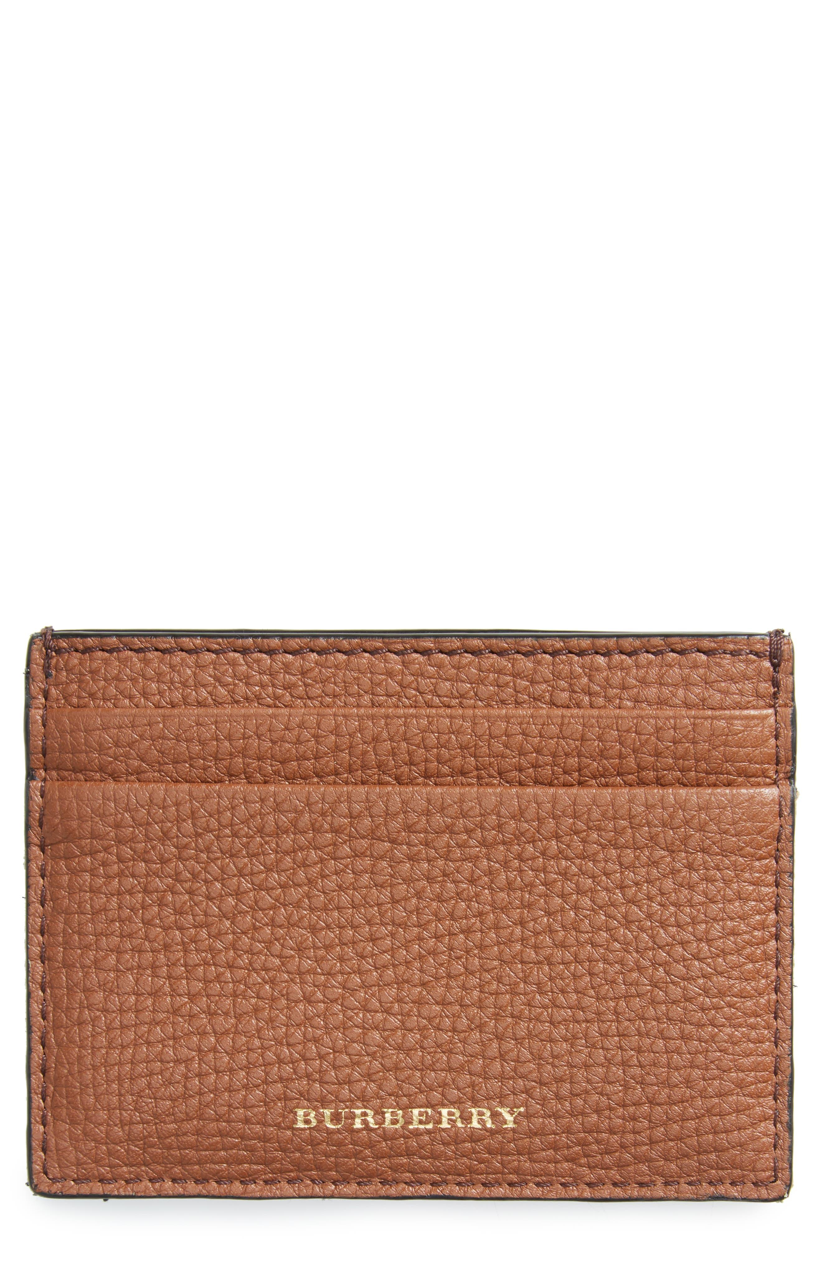 Sandon Leather Card Case,                         Main,                         color, Chestnut Brown