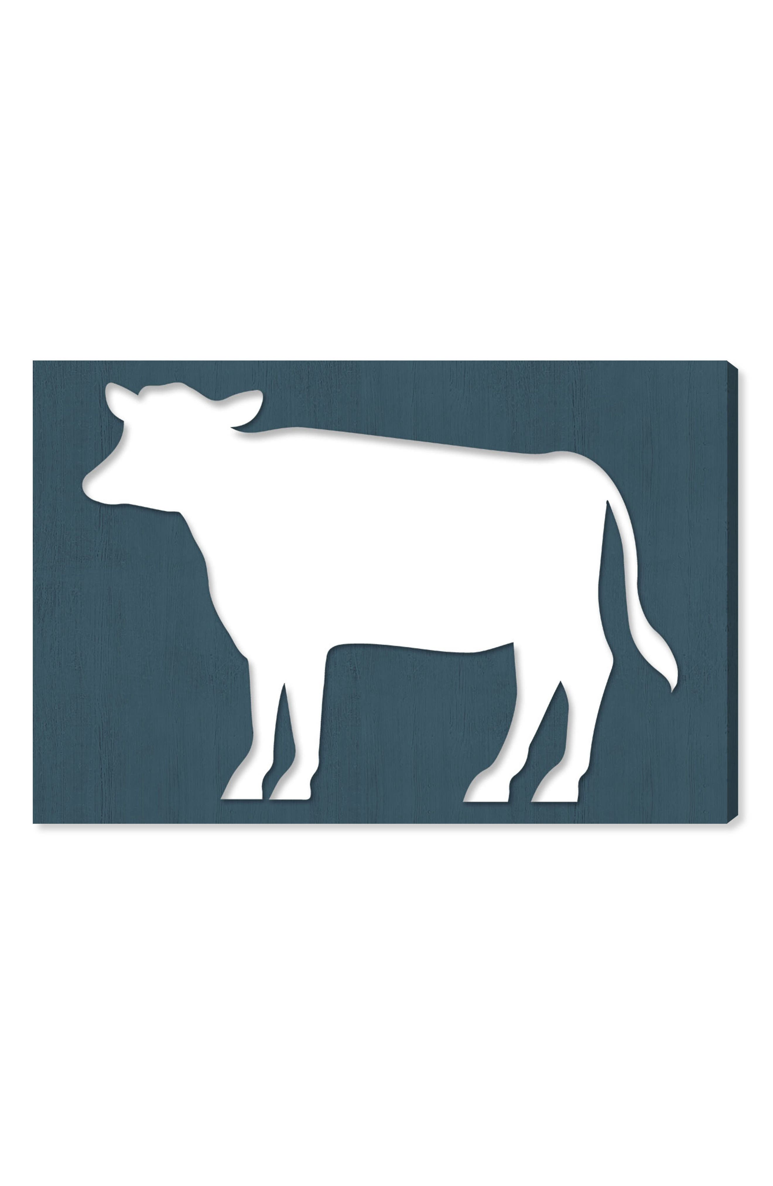Cow Wood Cutout Blue Canvas Wall Art,                         Main,                         color, Blue
