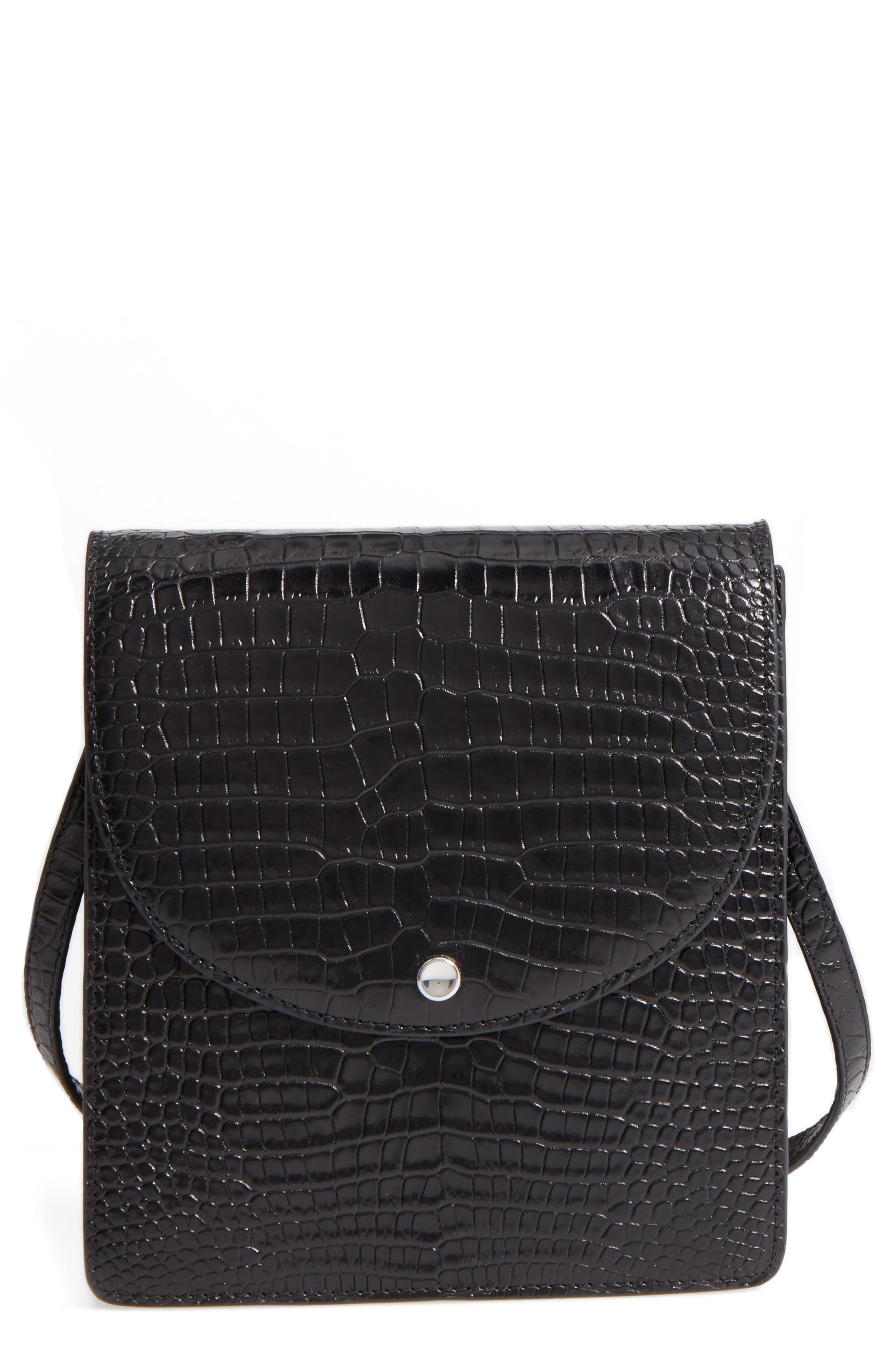 Eloise Leather Crossbody Bag,                             Main thumbnail 1, color,                             Black