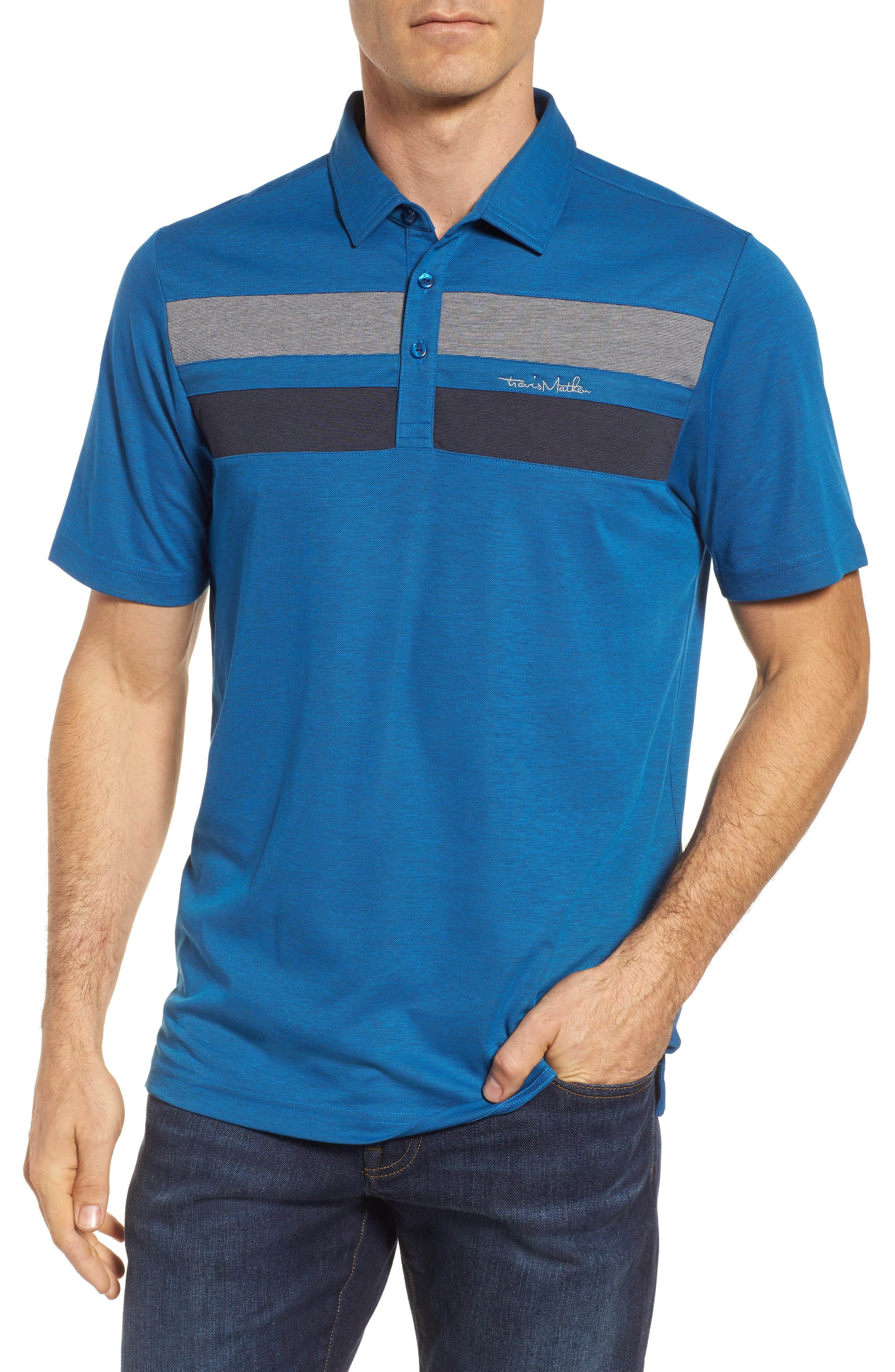 Travis Matthew Don't Mind It Polo,                         Main,                         color, French Blue/ Blue Nights
