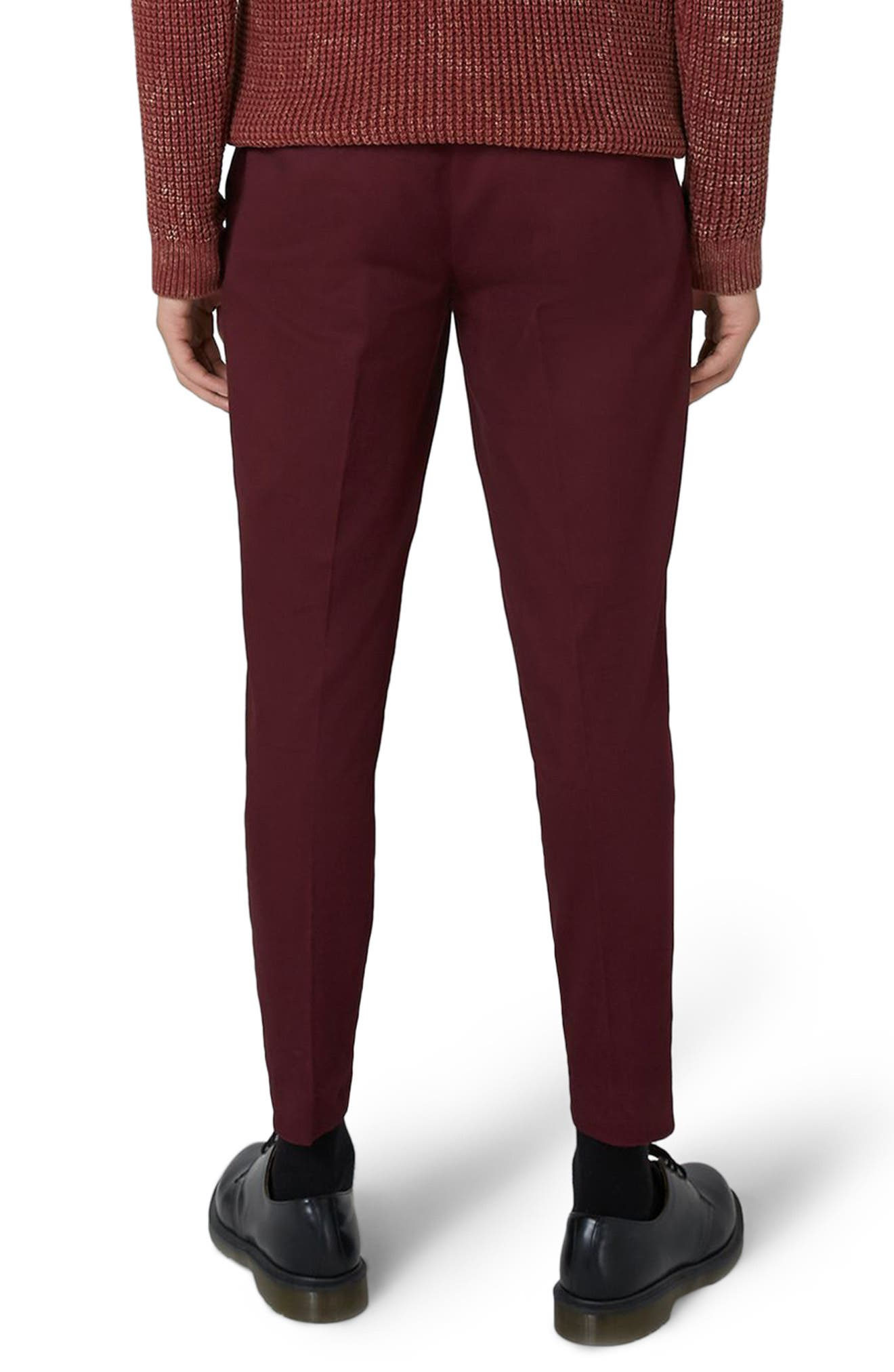 Twill Tapered Trousers,                             Alternate thumbnail 2, color,                             Burgundy