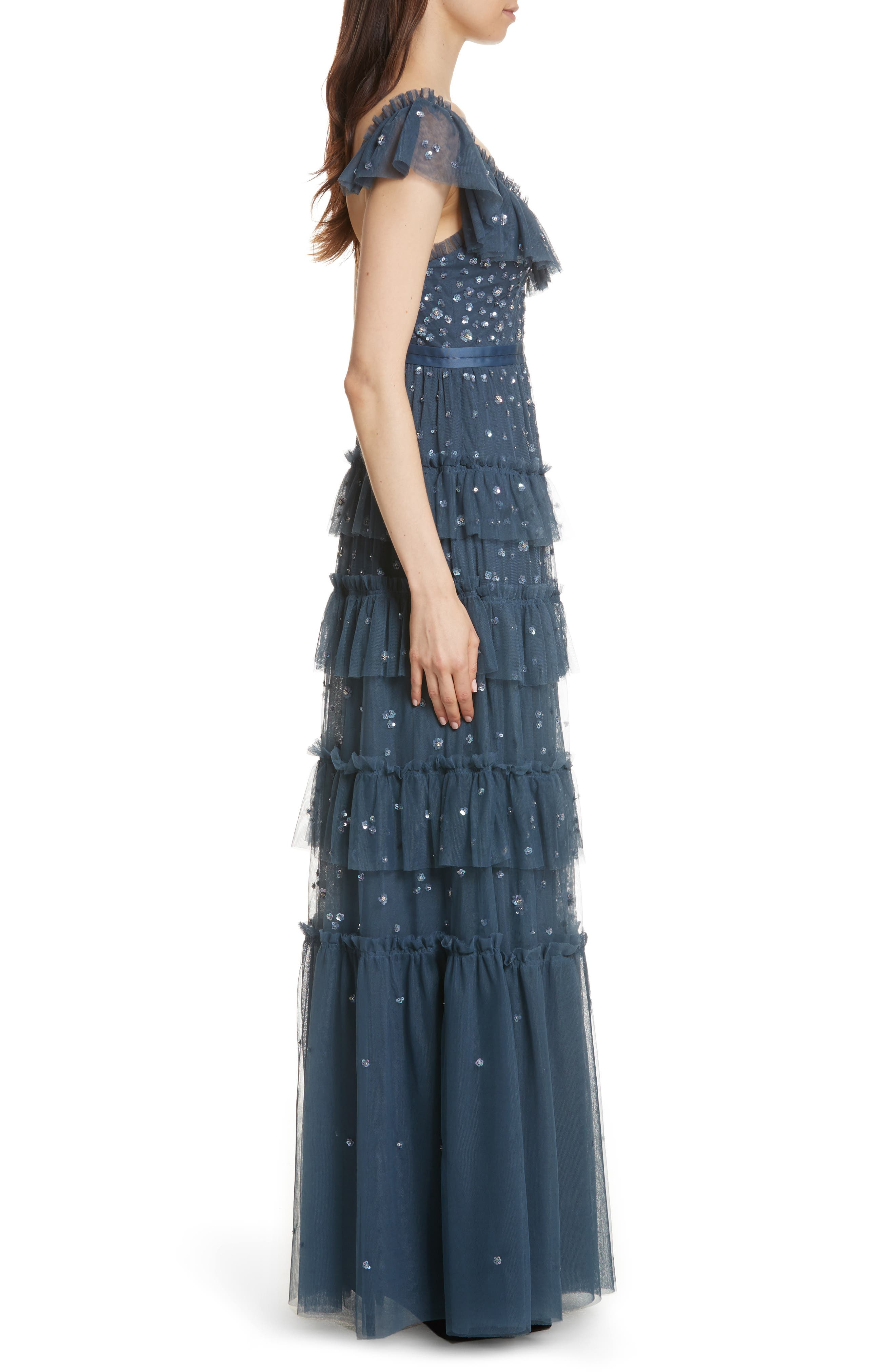 Sunburst Tiered Gown,                             Alternate thumbnail 3, color,                             Washed Indigo