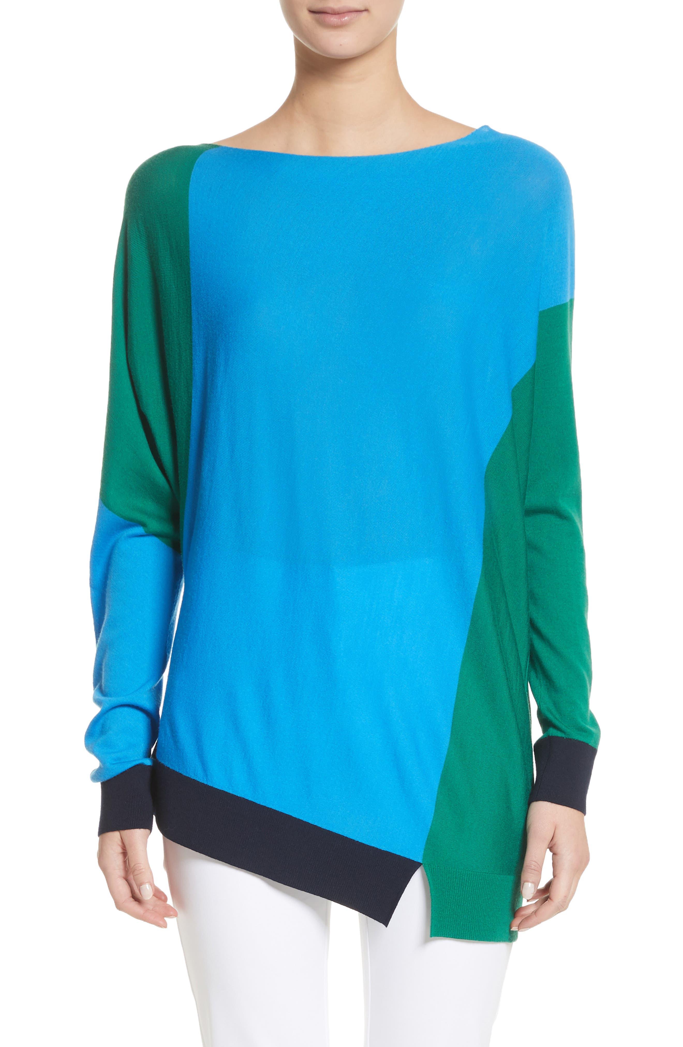 Colorblock Knit Wool Sweater,                             Main thumbnail 1, color,                             Cyan/ Emerald/ Navy