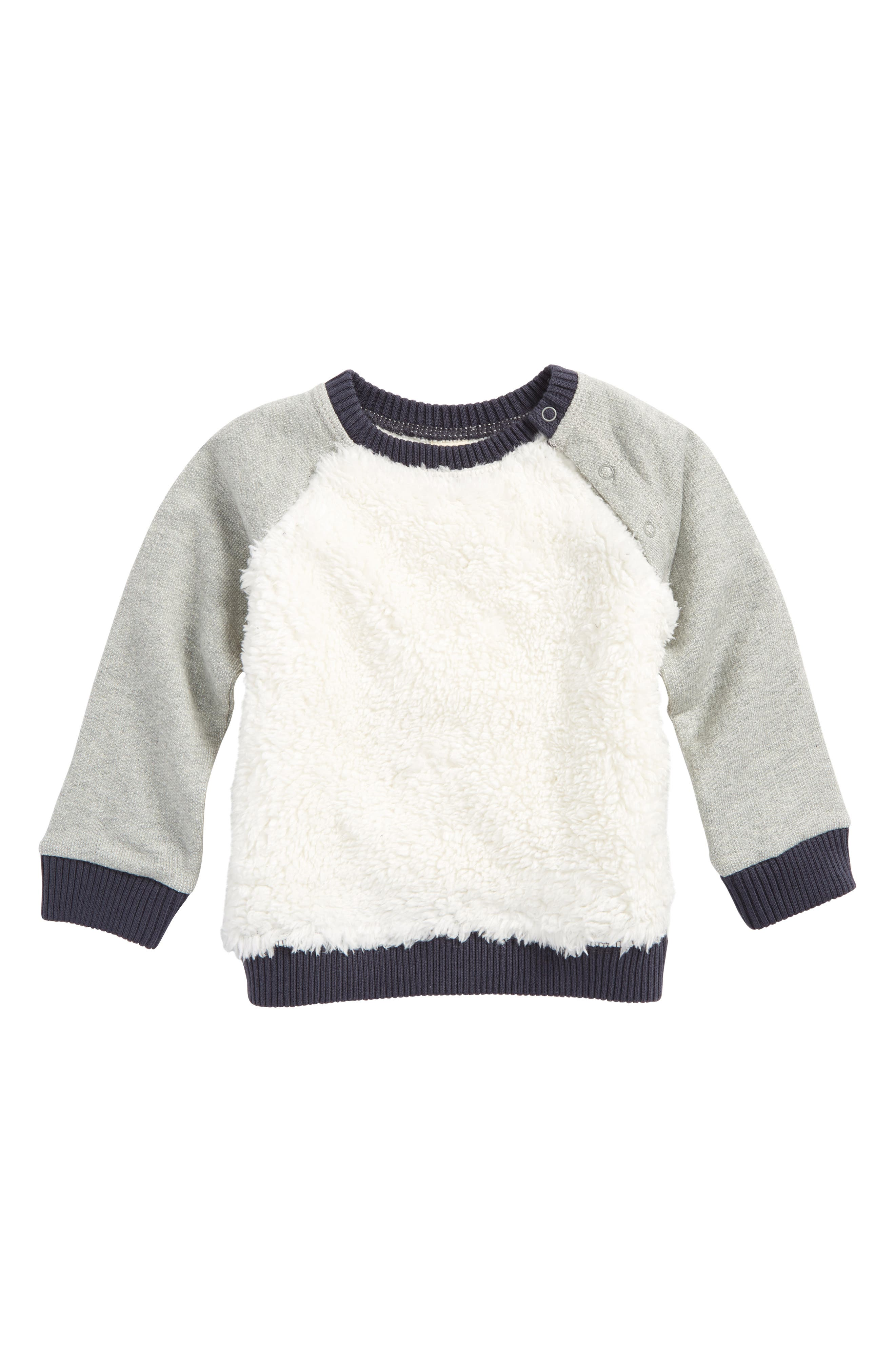 Cozy Faux Fur Baseball Sweater,                         Main,                         color, Ivory Egret- Grey