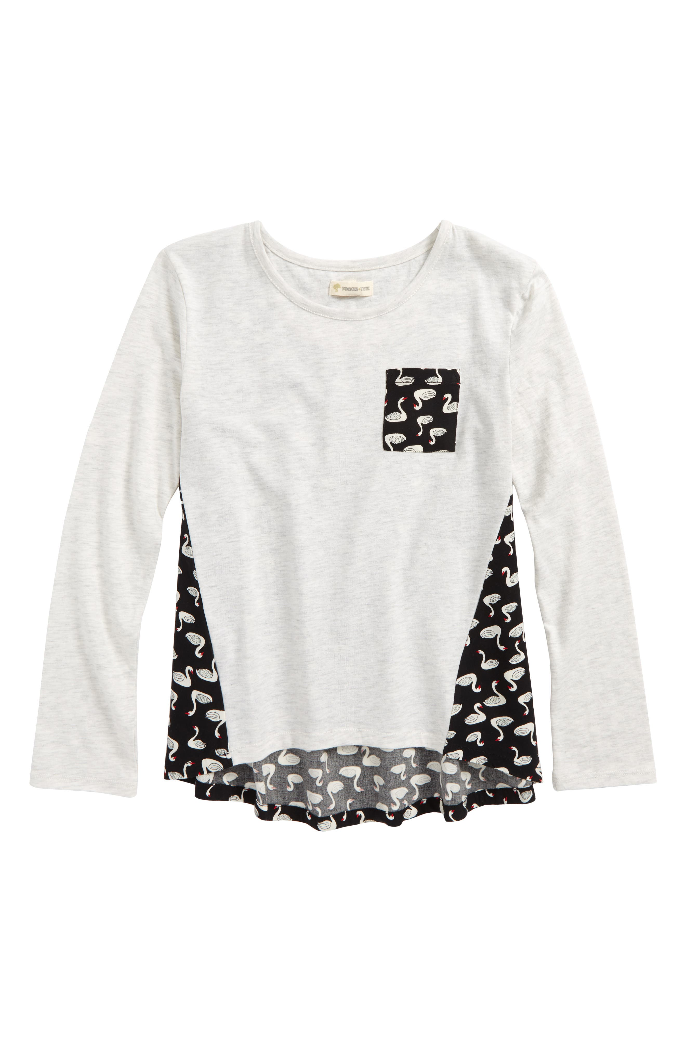 Mix Media Tee,                         Main,                         color, Ivory Egret Heather Swan Party