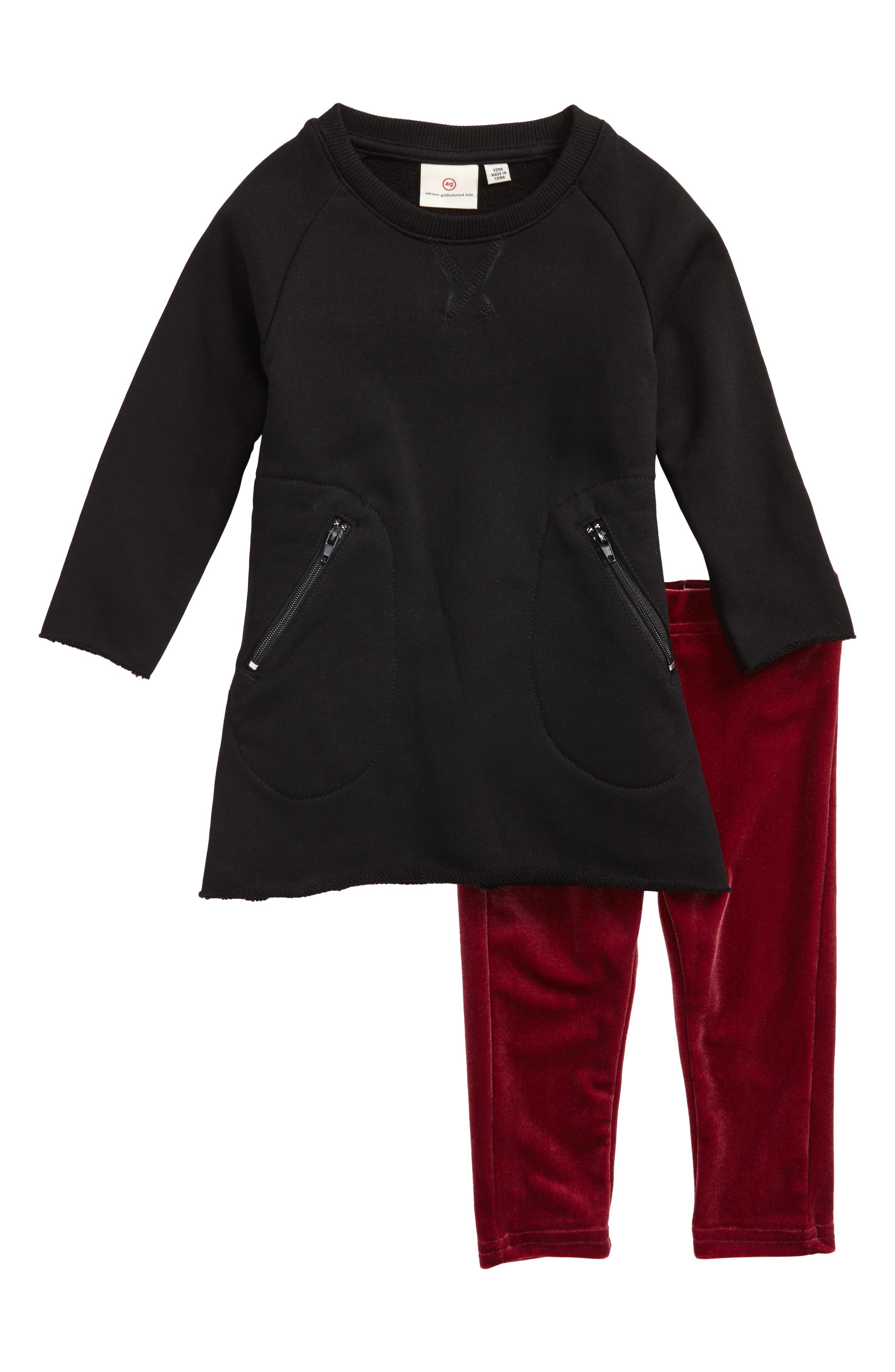 French Terry Dress & Velour Leggings Set,                         Main,                         color, Black