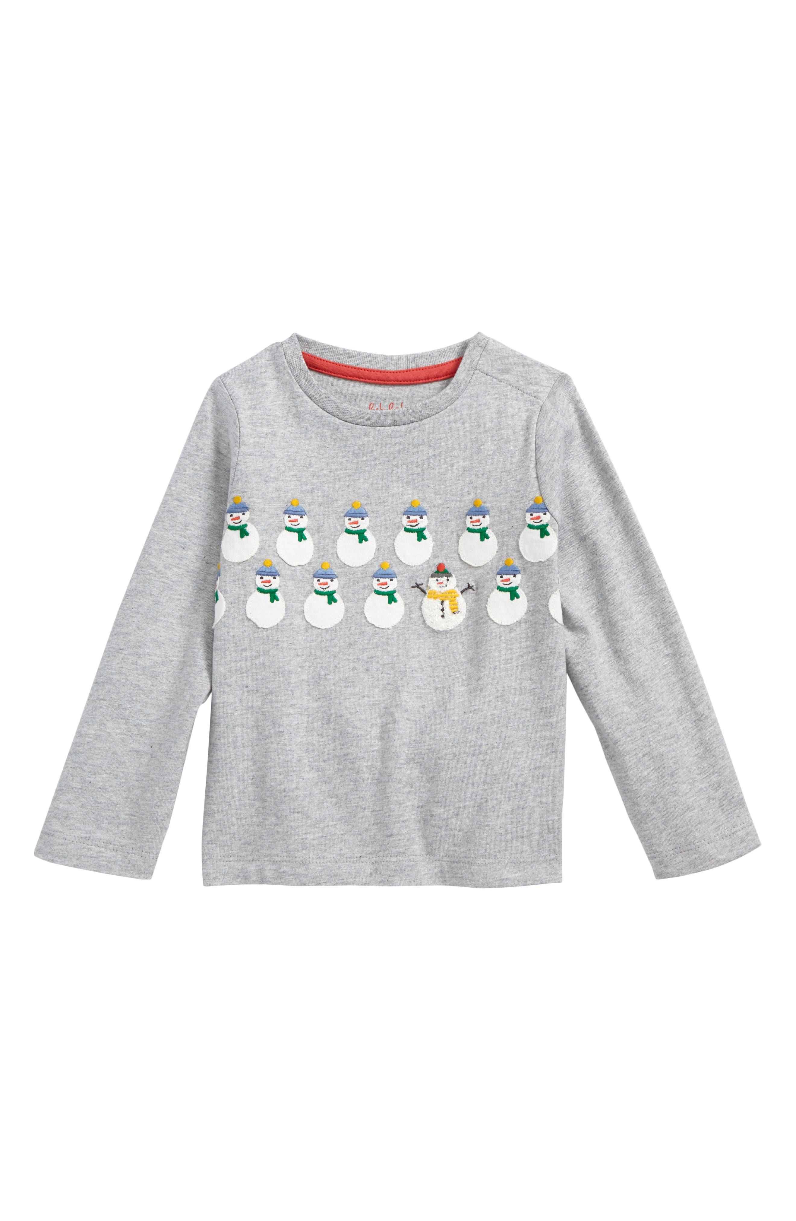 Festive T-Shirt,                         Main,                         color, Grey Marl Snowmen