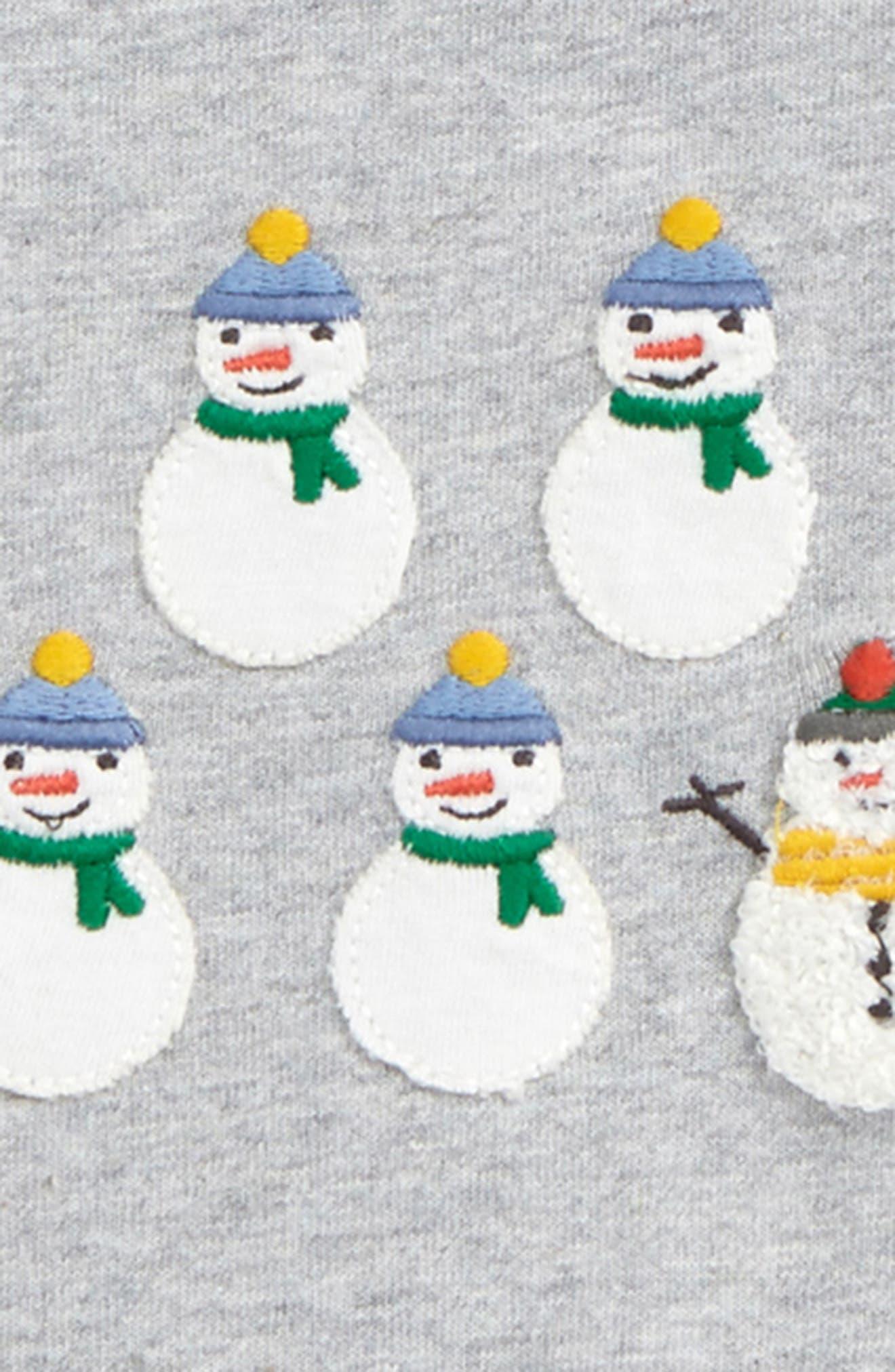 Festive T-Shirt,                             Alternate thumbnail 2, color,                             Grey Marl Snowmen