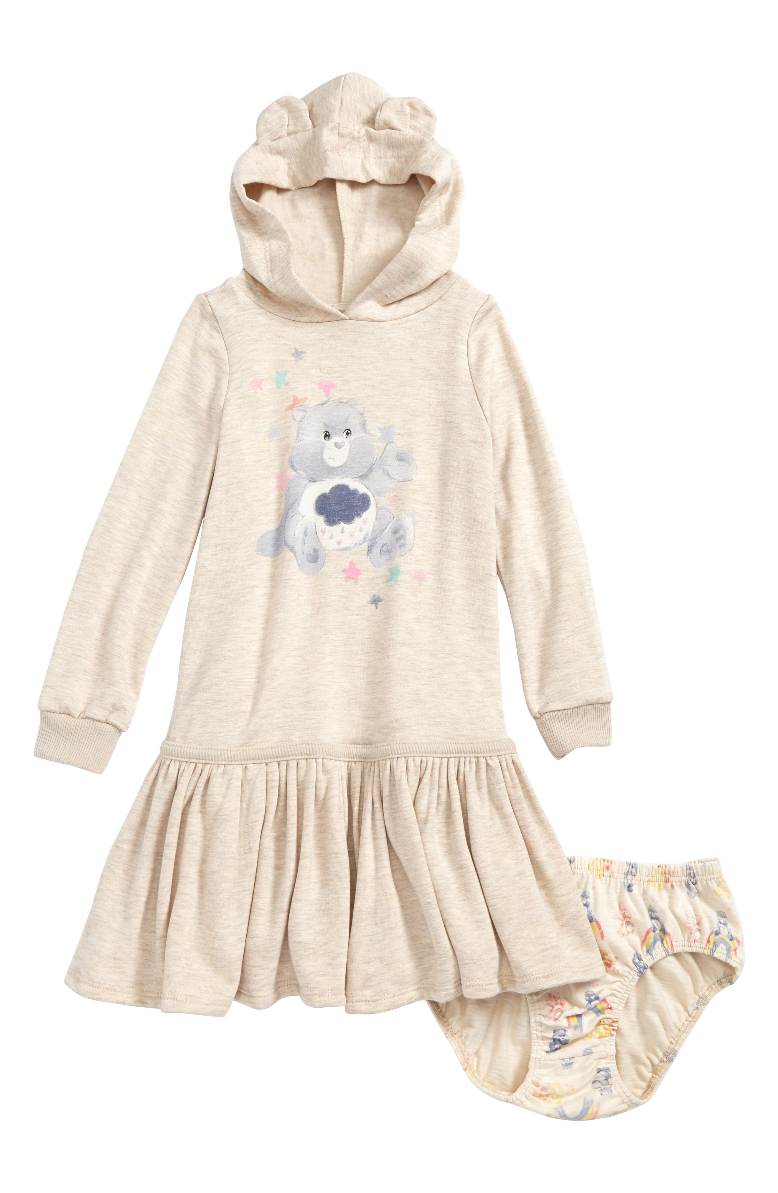 Care Bears<sup>™</sup> by Fine Threads Hooded Dress,                             Main thumbnail 1, color,                             Natural