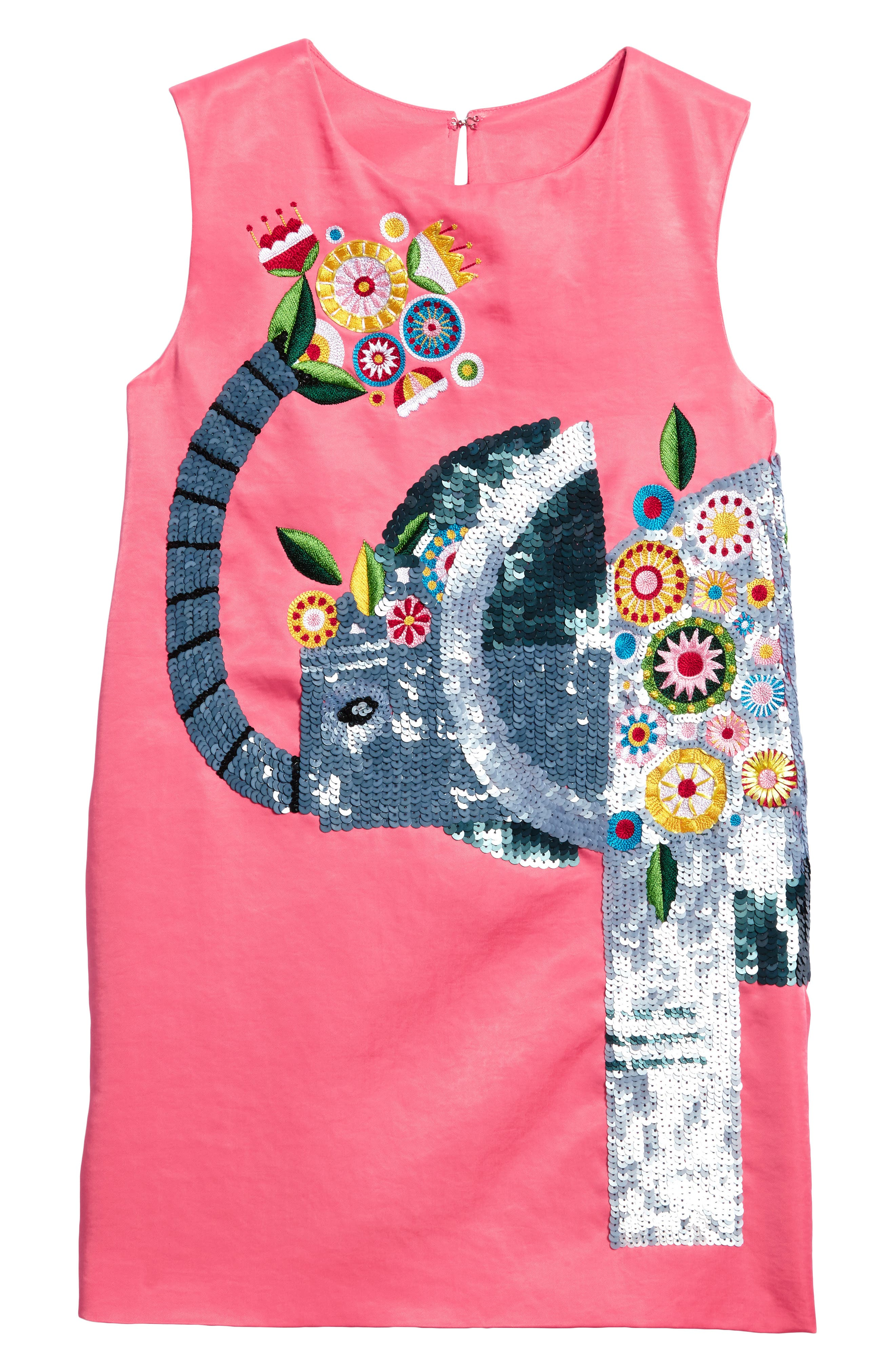 Beaded Elephant Shift Dress,                         Main,                         color, Rose