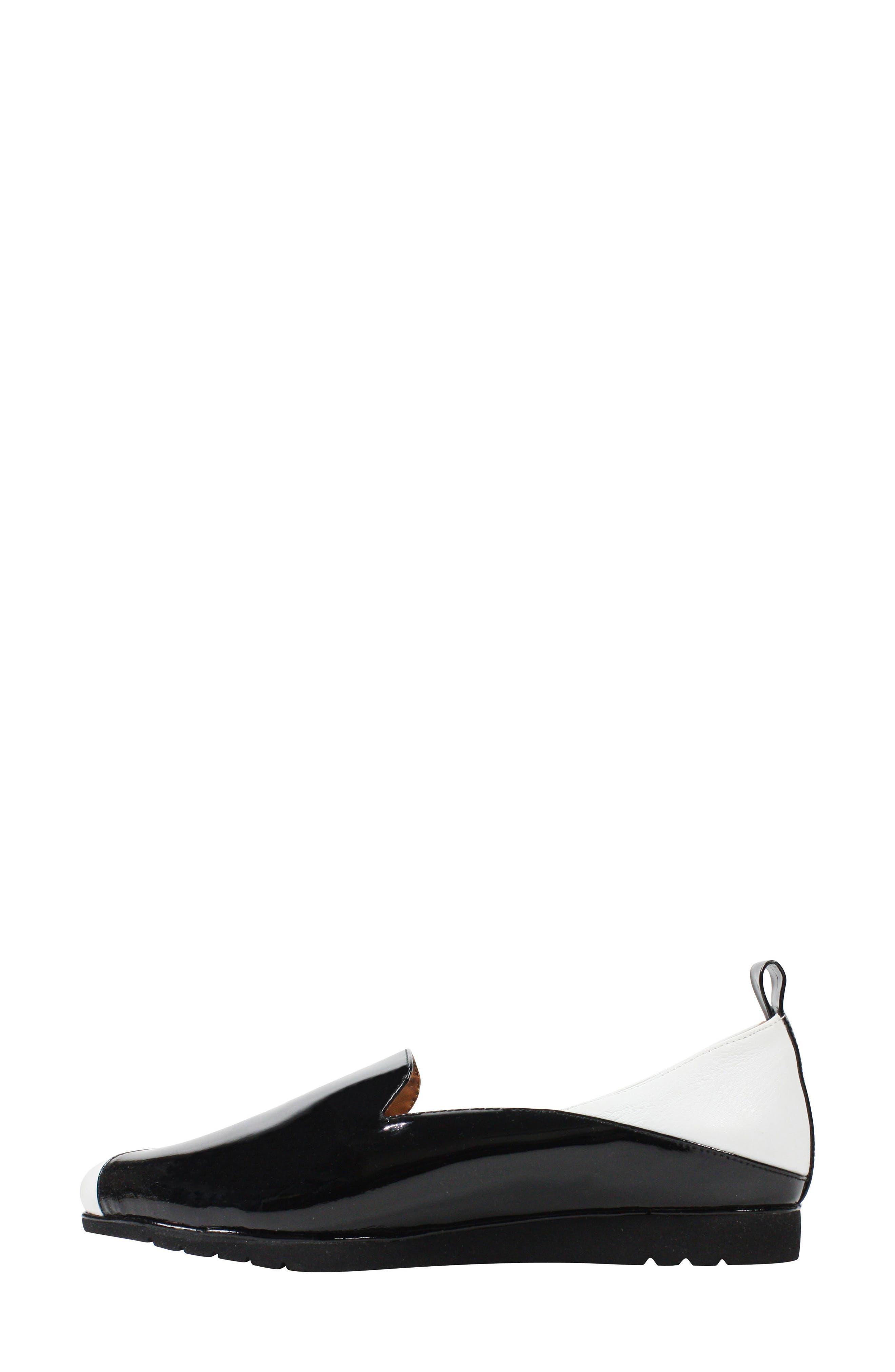 Marjolaina Loafer,                             Alternate thumbnail 4, color,                             Black/ White Patent Leather