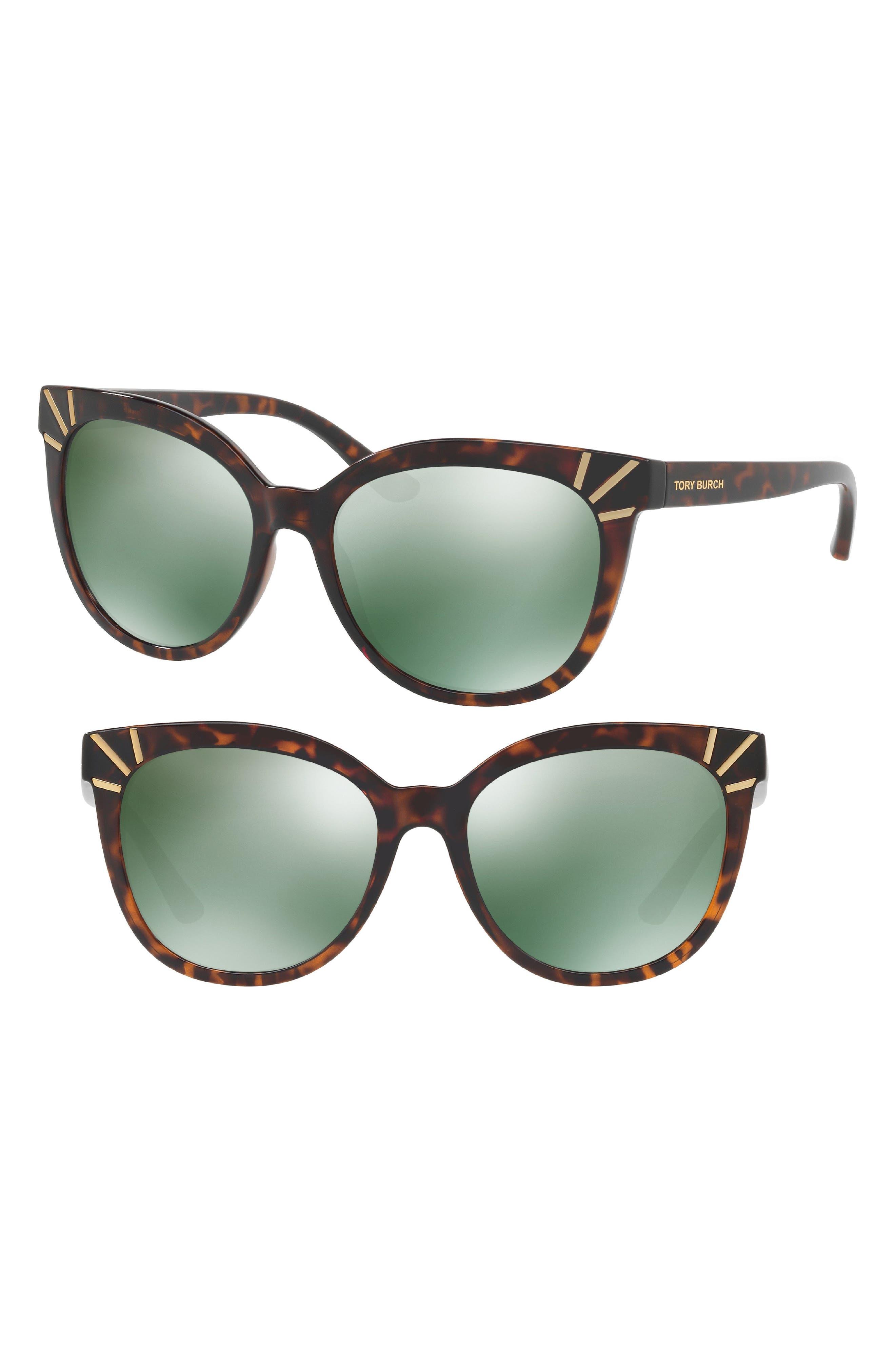 Main Image - Tory Burch 56mm Mirrored Cat Eye Sunglasses