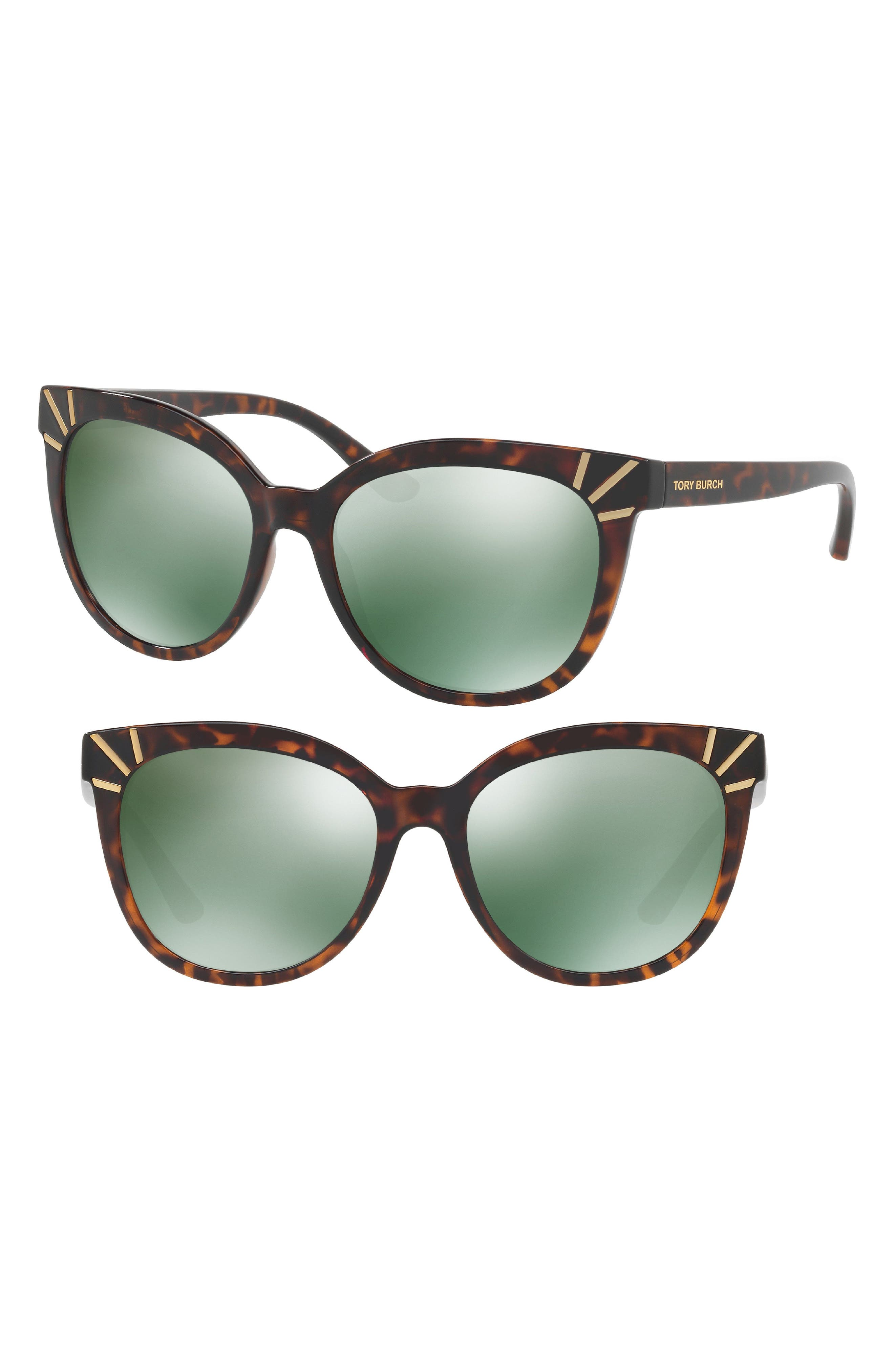 56mm Mirrored Cat Eye Sunglasses,                         Main,                         color, Gold