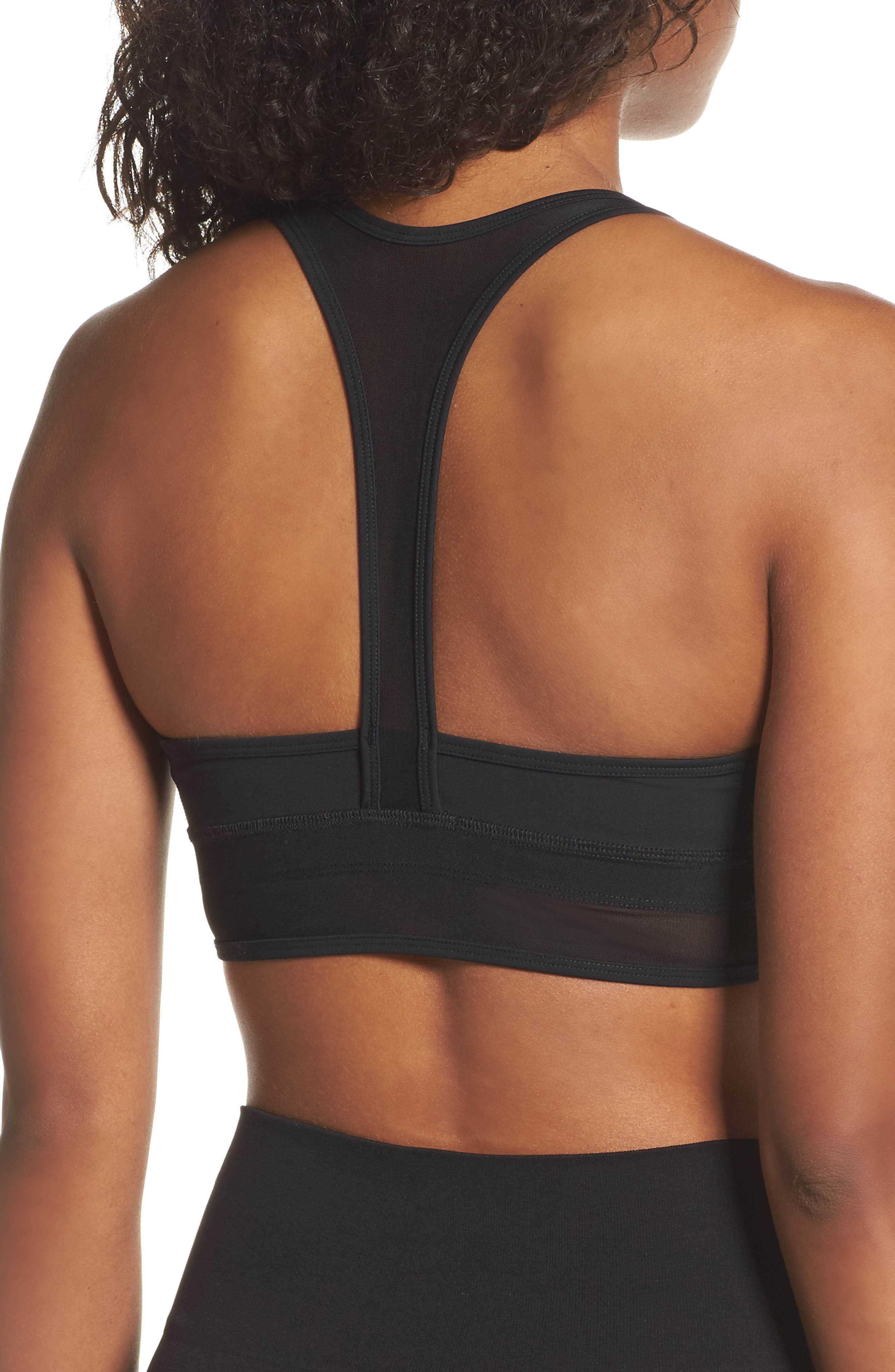 BoomBoom Athletic Plunge Racerback Sports Bra,                             Alternate thumbnail 2, color,                             Black