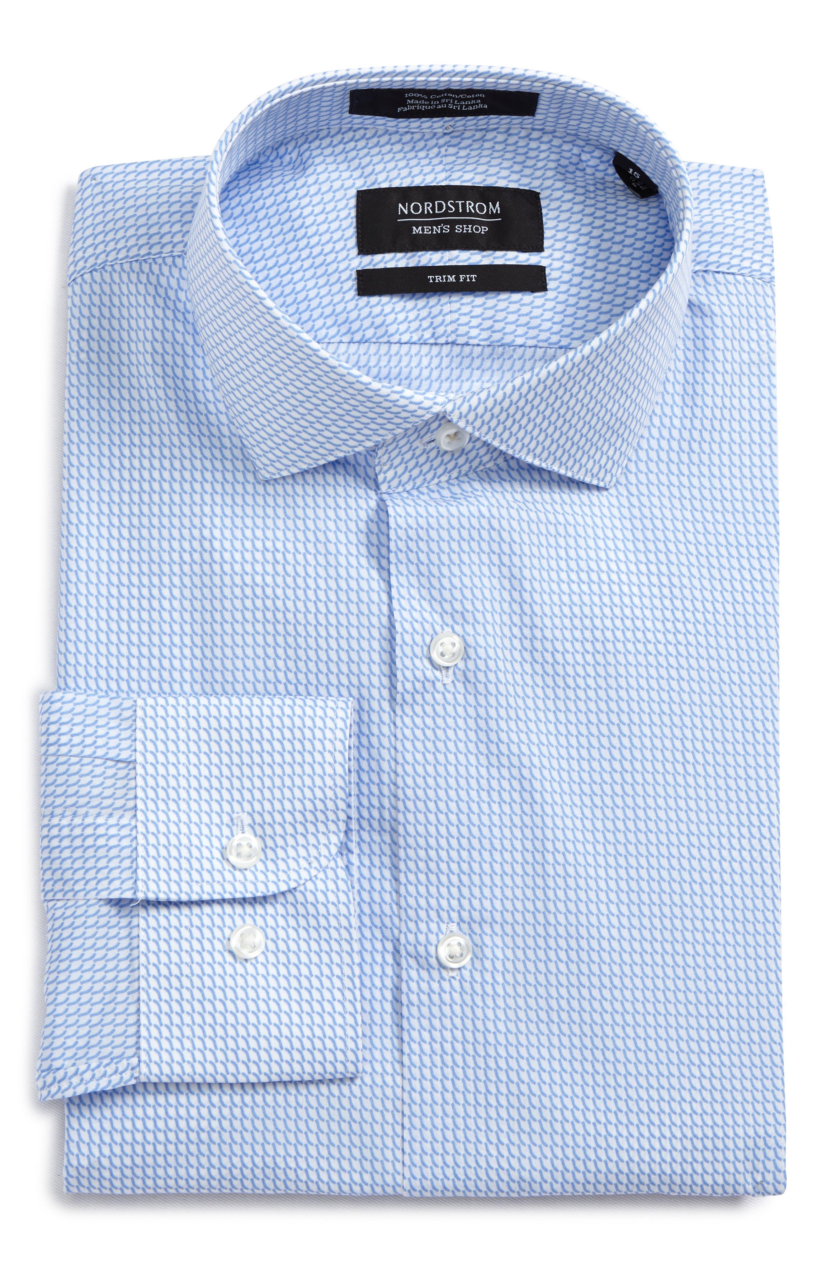 Trim Fit Patterned Dress Shirt,                         Main,                         color, Blue Hydrangea