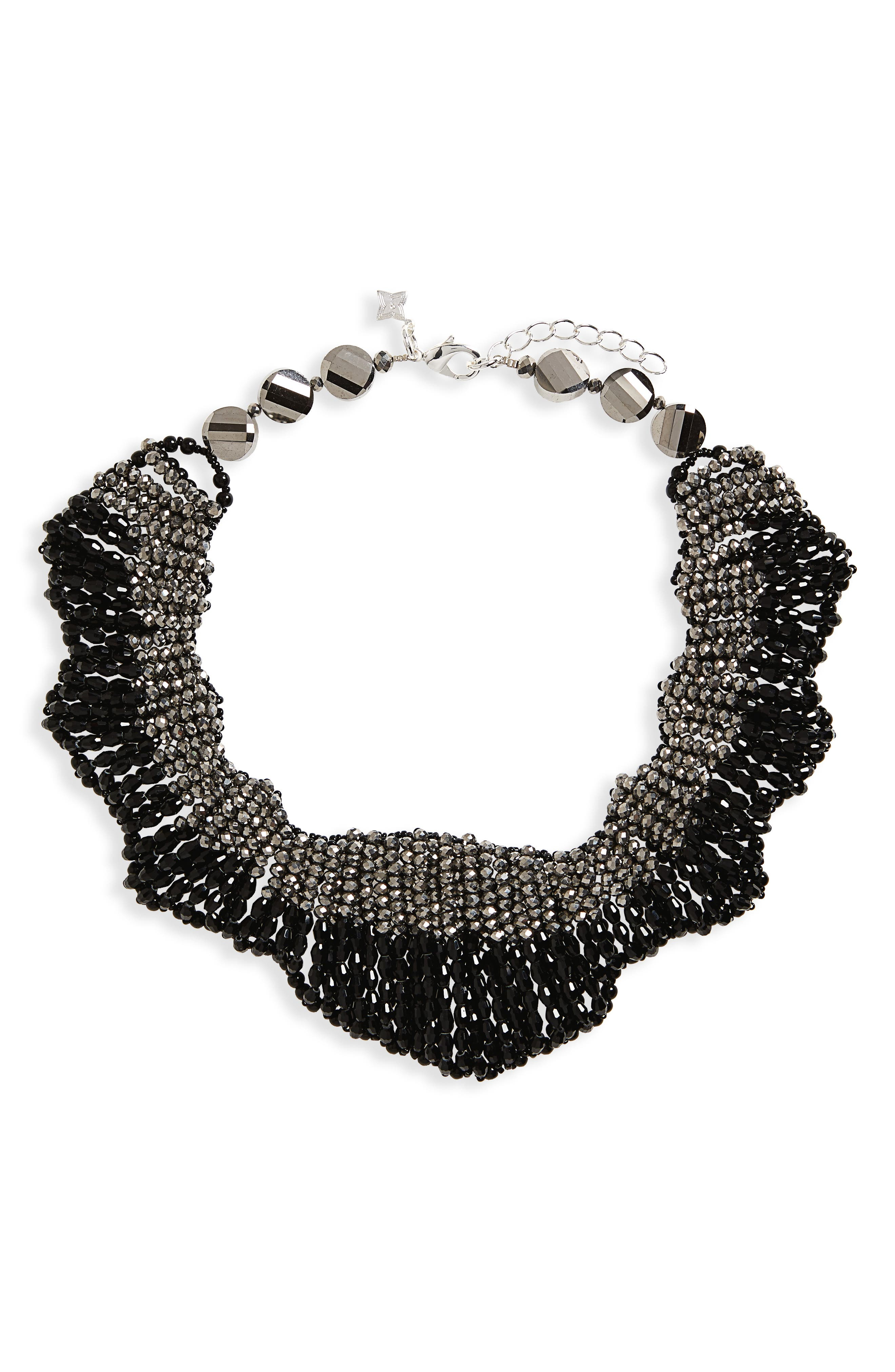 Beaded Statement Collar Necklace,                             Main thumbnail 1, color,                             Black