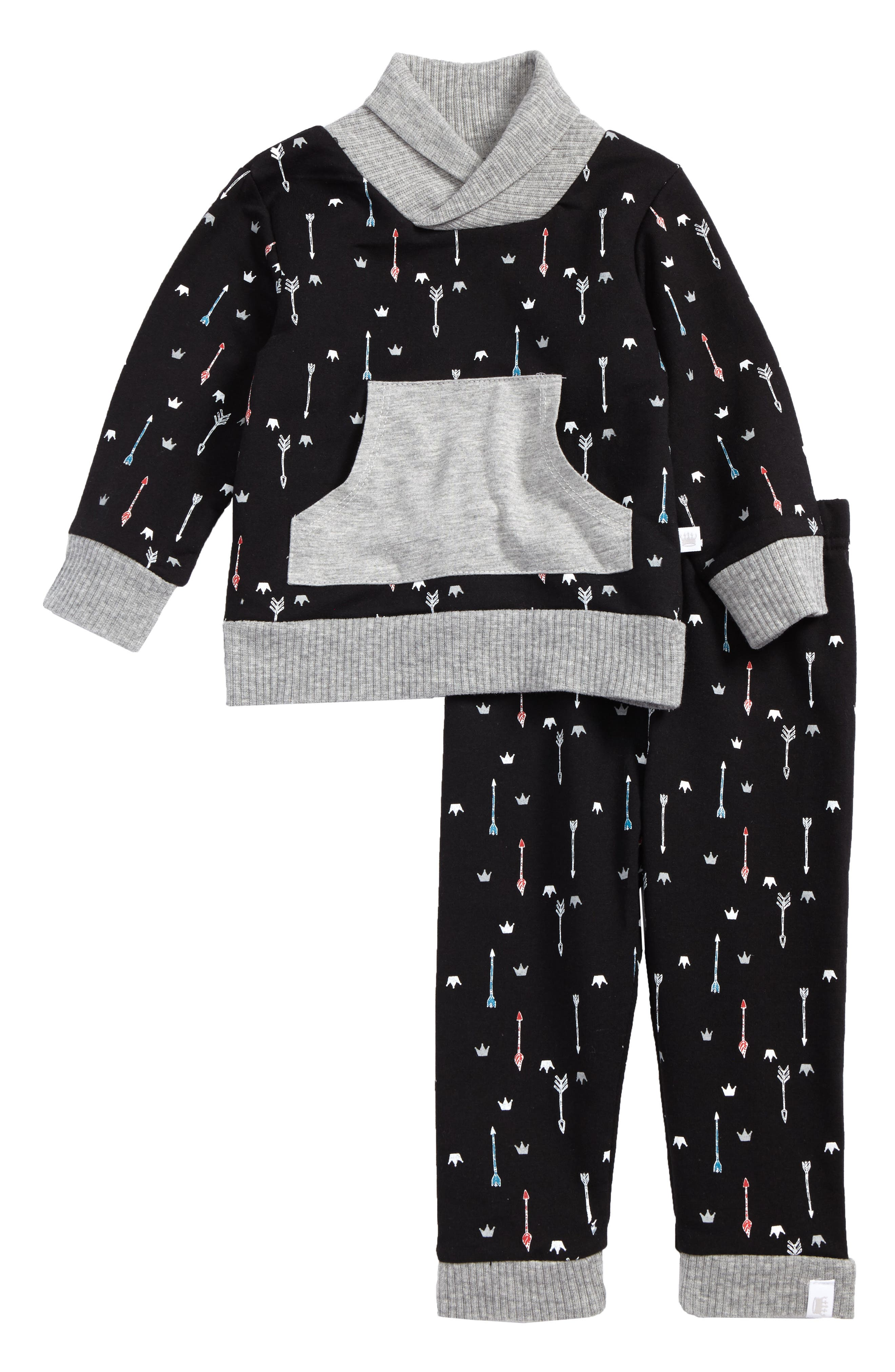 Rosie Pope Shawl Collar Top & Pants Set (Baby Boys)
