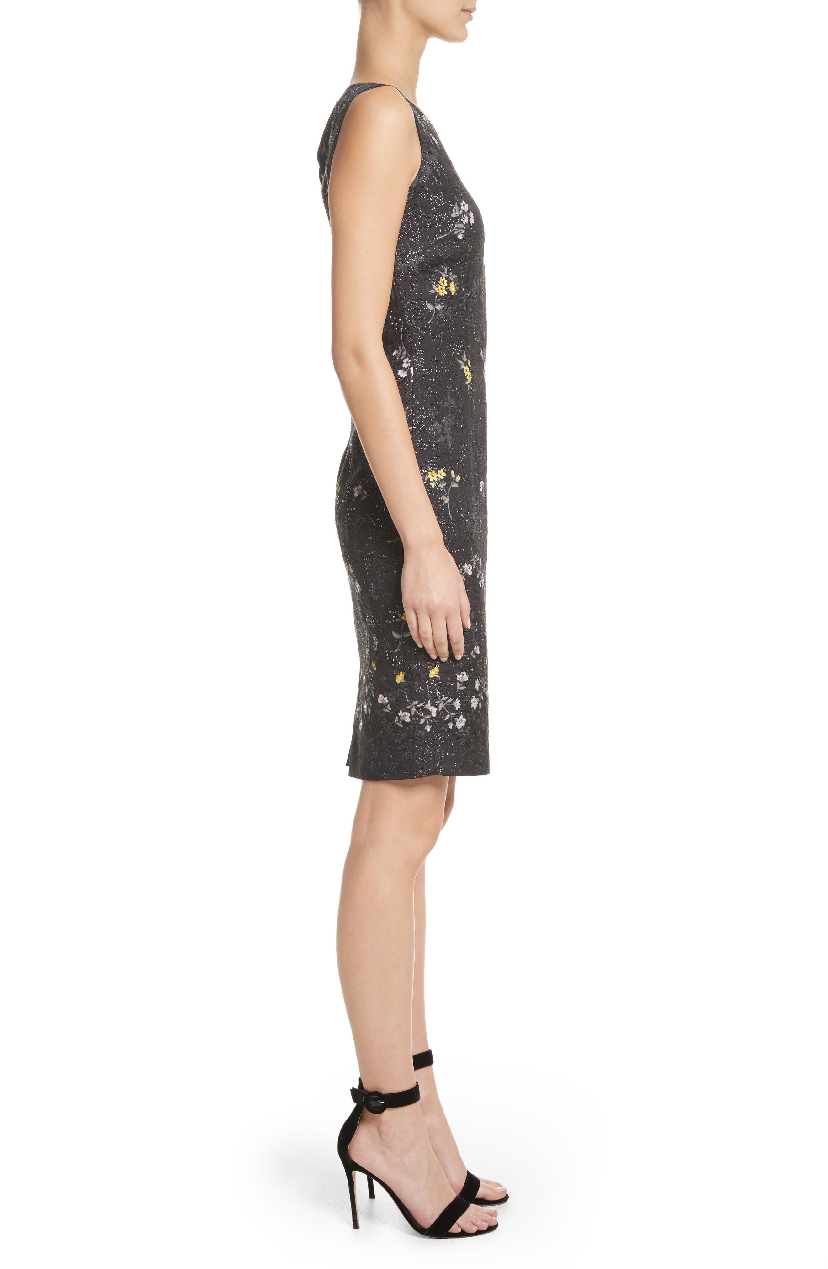 Falling Bouquet Metallic Matelassé Sheath Dress,                             Alternate thumbnail 3, color,                             Caviar Multi