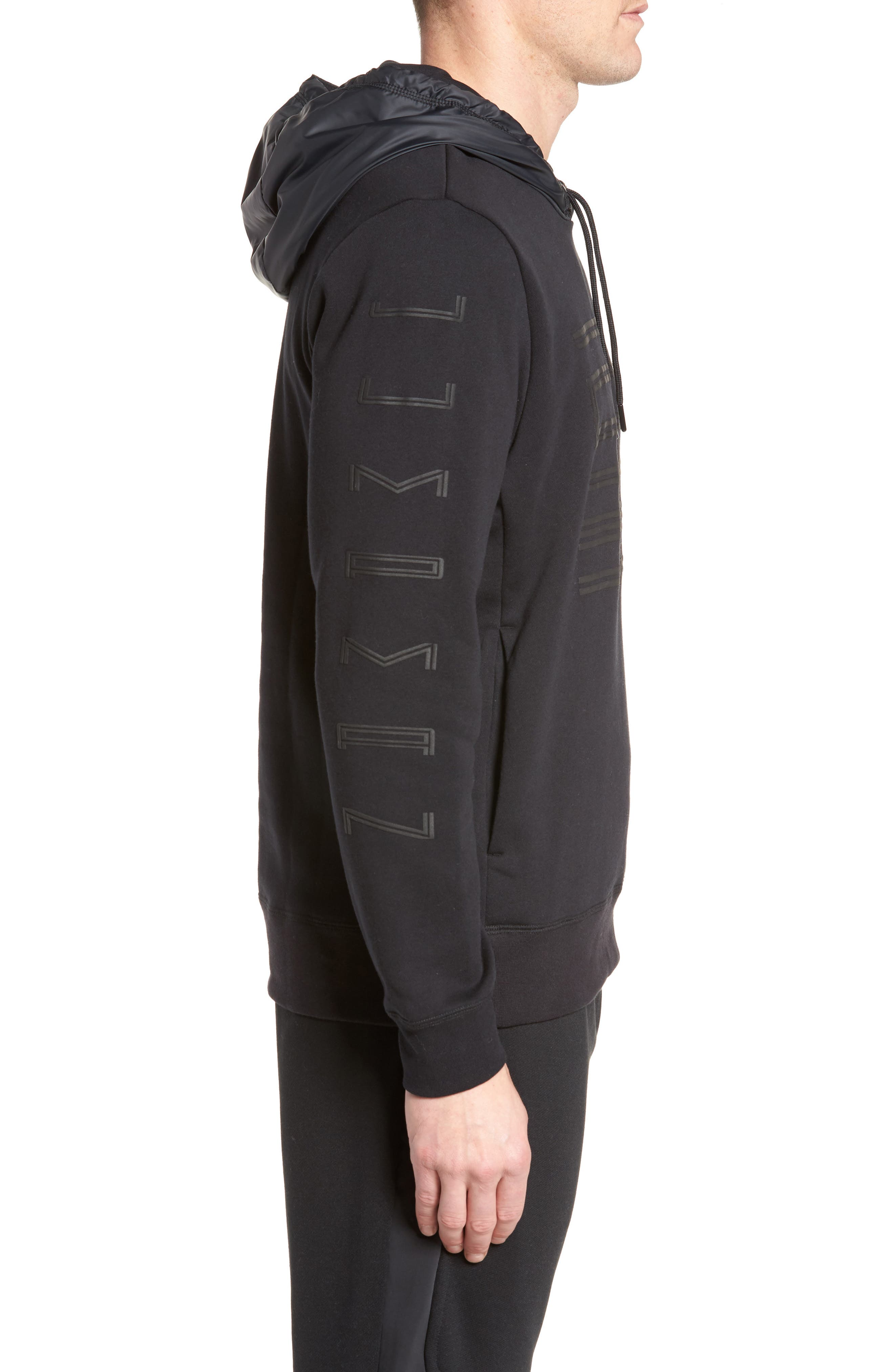 Sportswear AJ11 Hybrid Hoodie,                             Alternate thumbnail 3, color,                             Black
