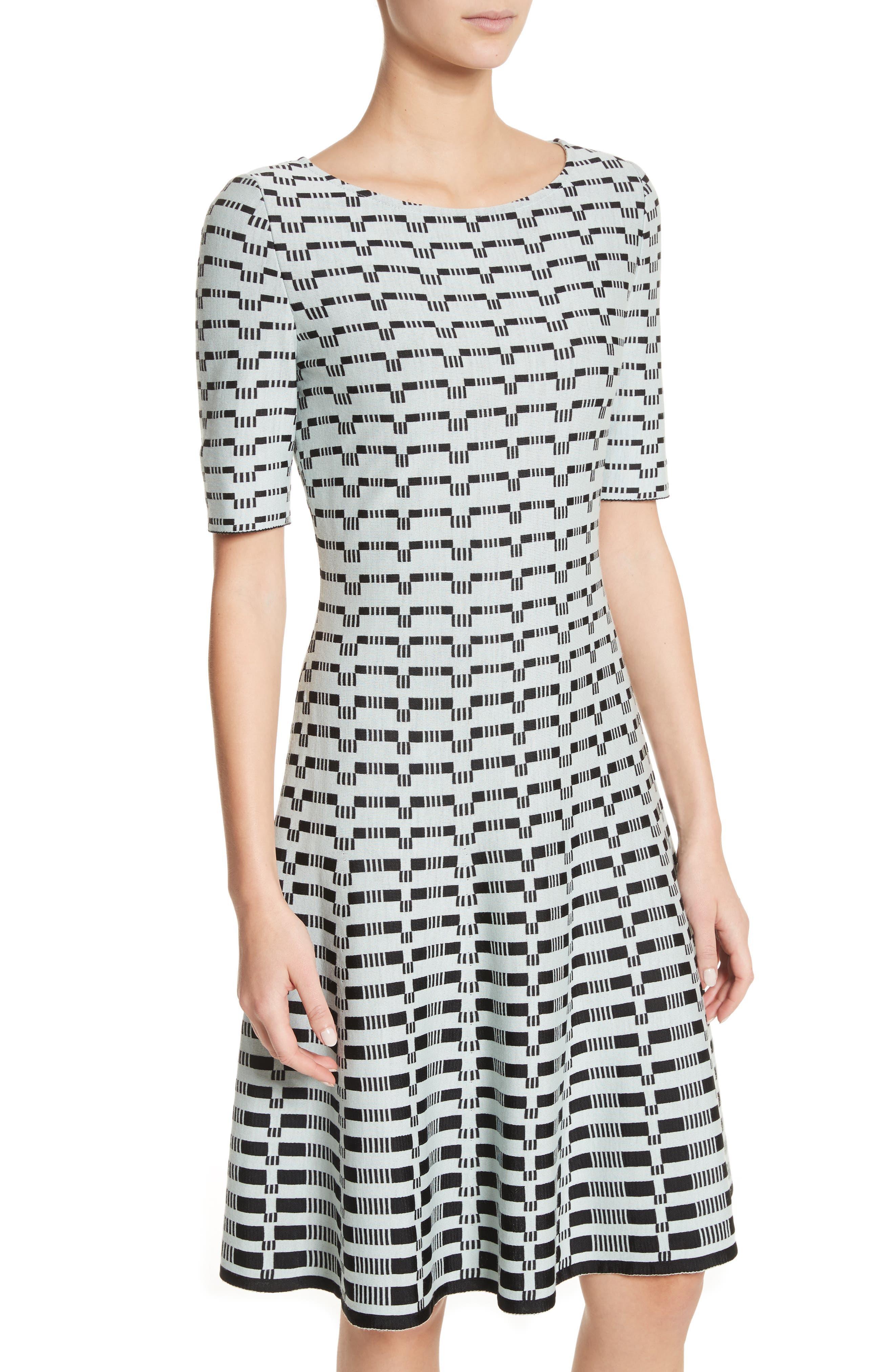 Grid Knit Fit & Flare Dress,                             Alternate thumbnail 4, color,                             Mint/ Caviar