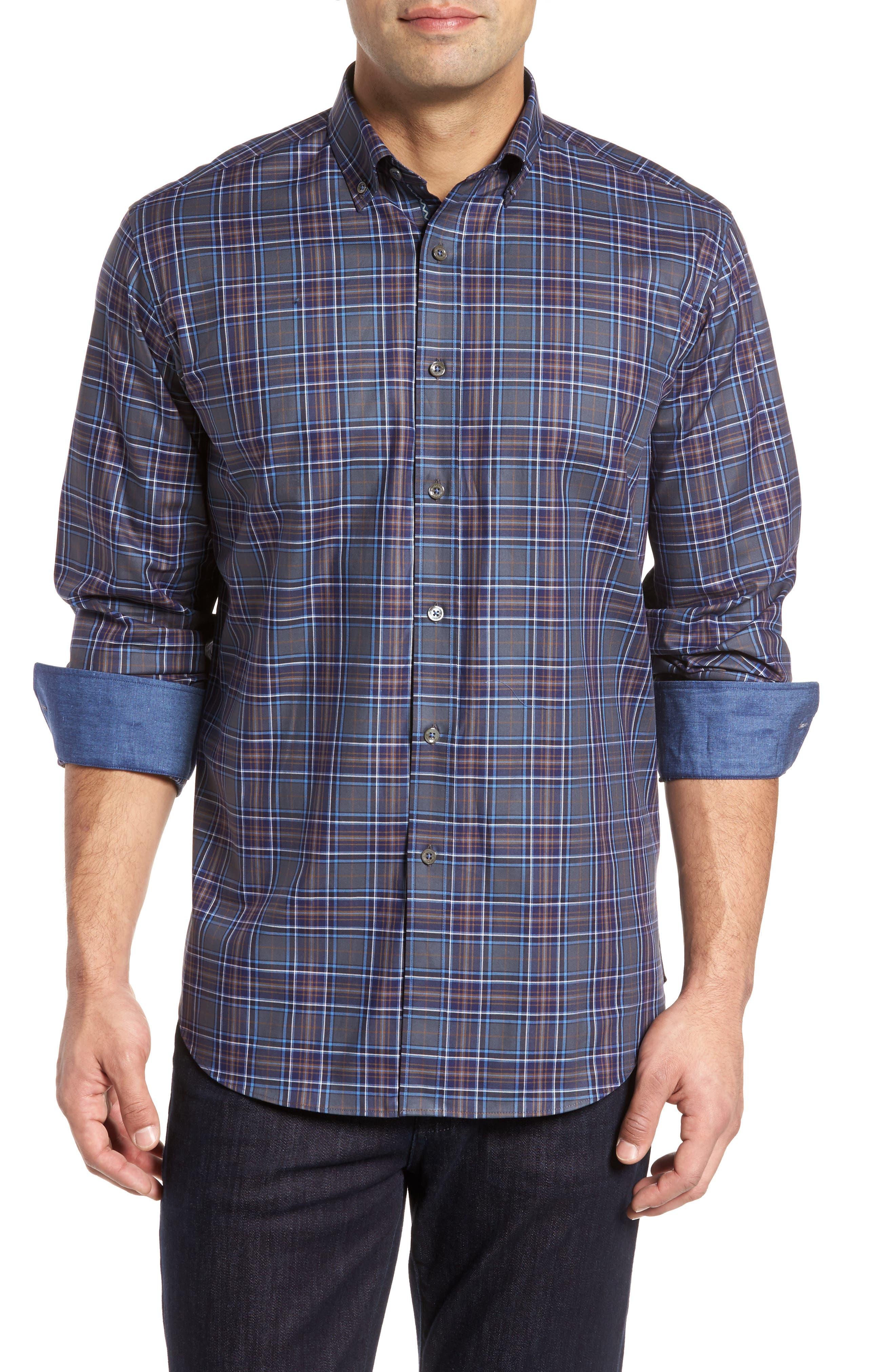 Shaped Fit Plaid Sport Shirt,                             Main thumbnail 1, color,                             Graphite