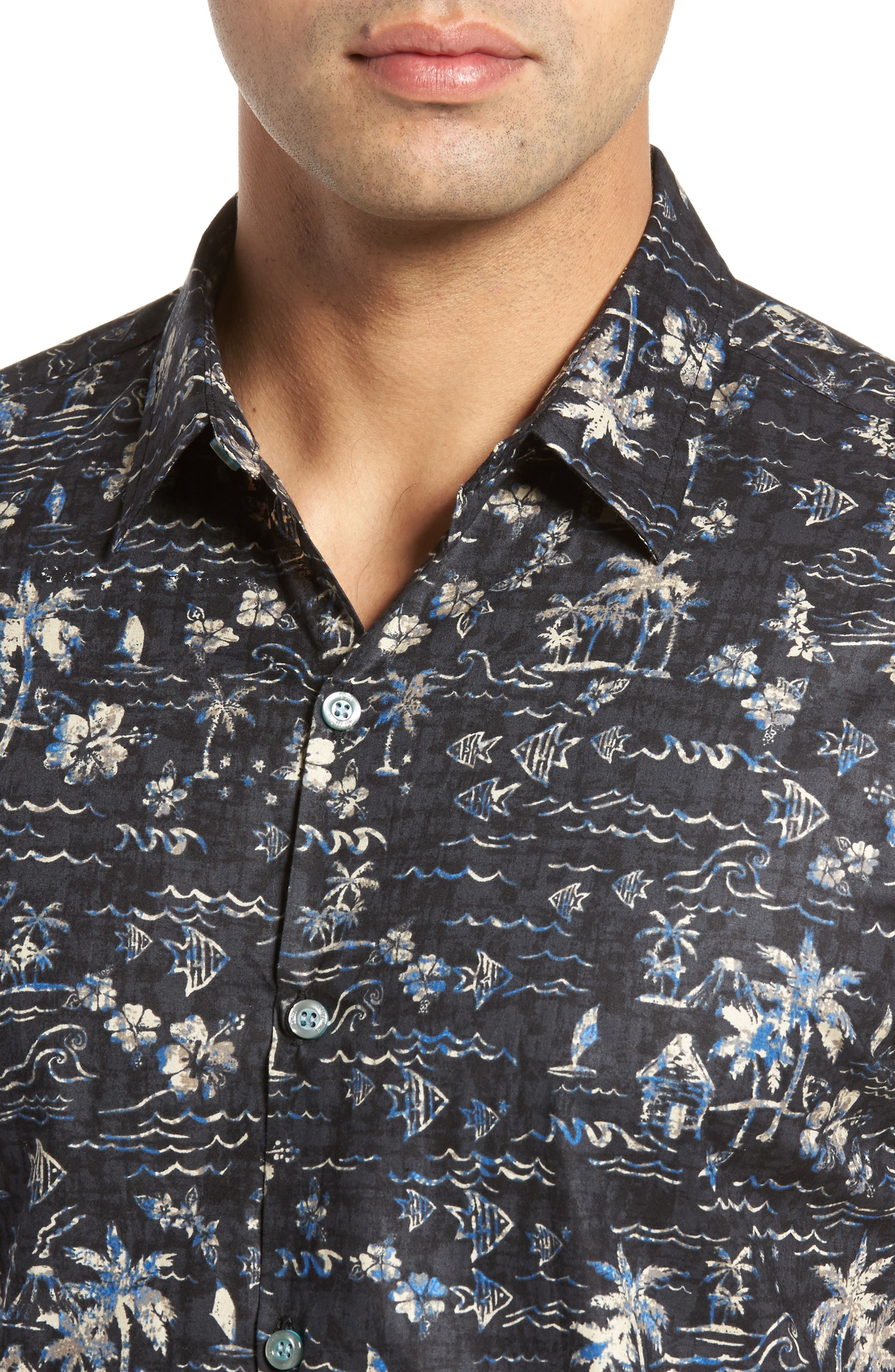 Smallville Regular Fit Print Sport Shirt,                             Alternate thumbnail 4, color,                             Black