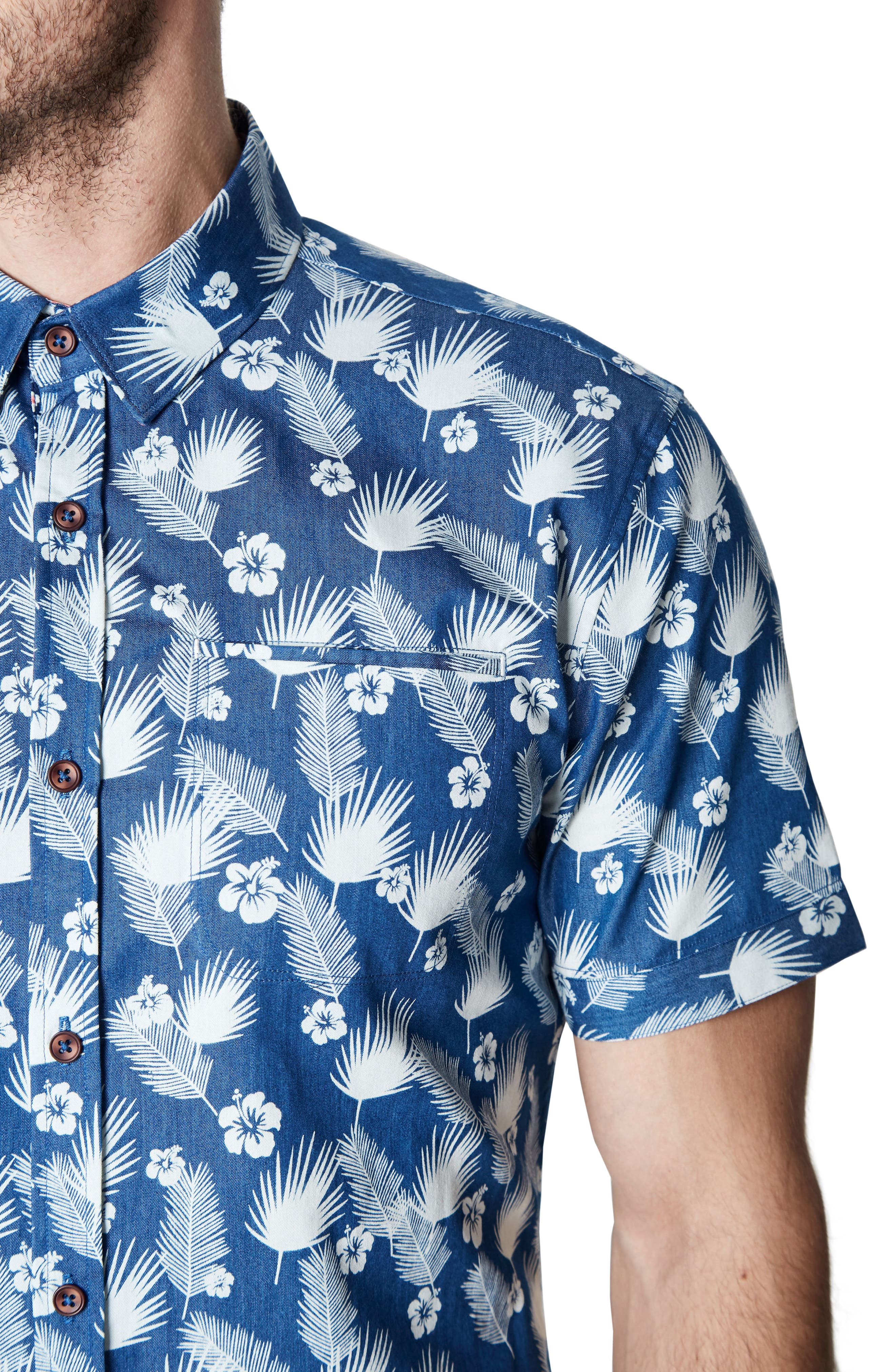 Love Invincible Woven Shirt,                             Alternate thumbnail 4, color,                             Blue