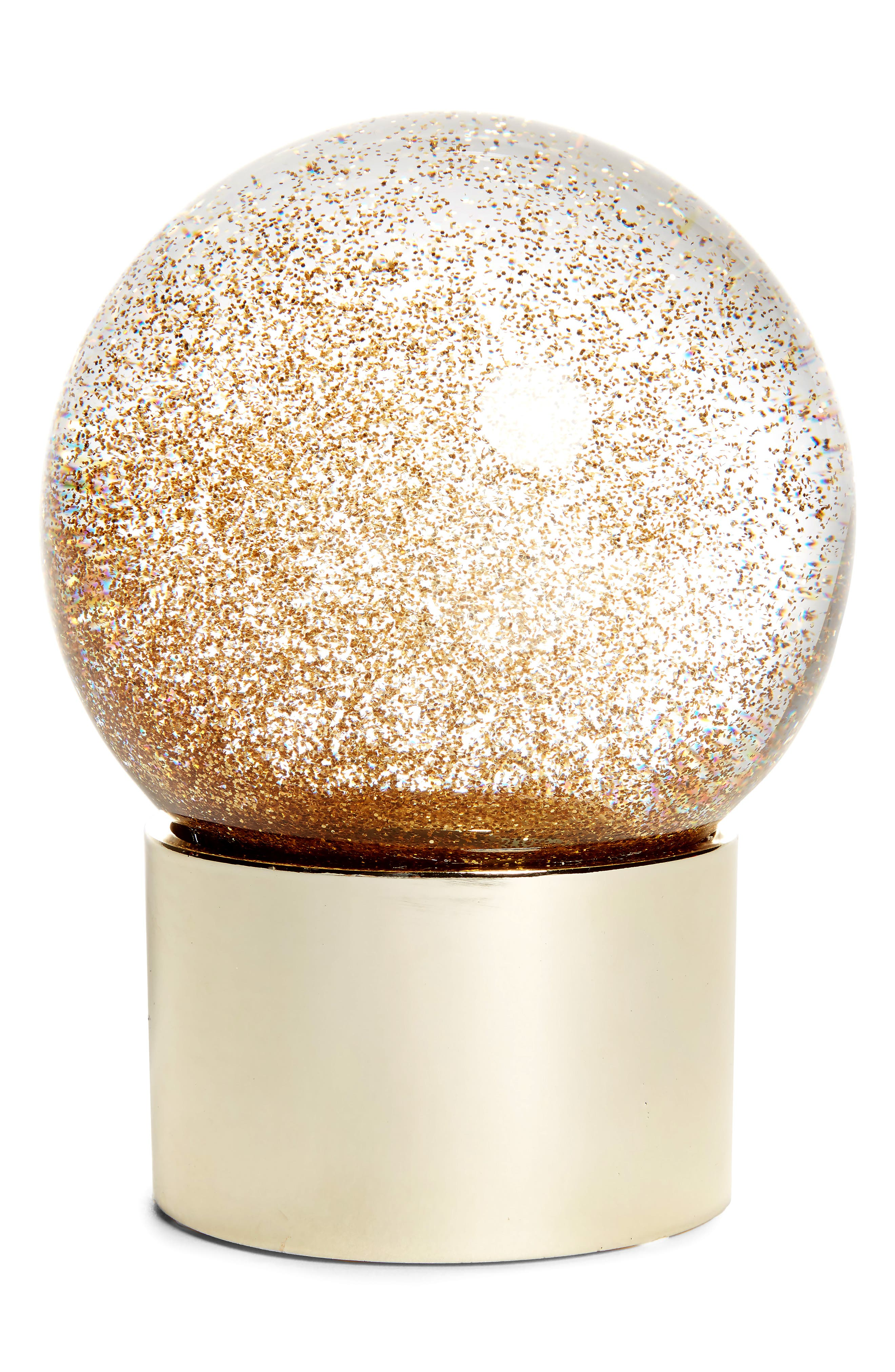 Medium Glitter Snow Globe,                         Main,                         color, Gold