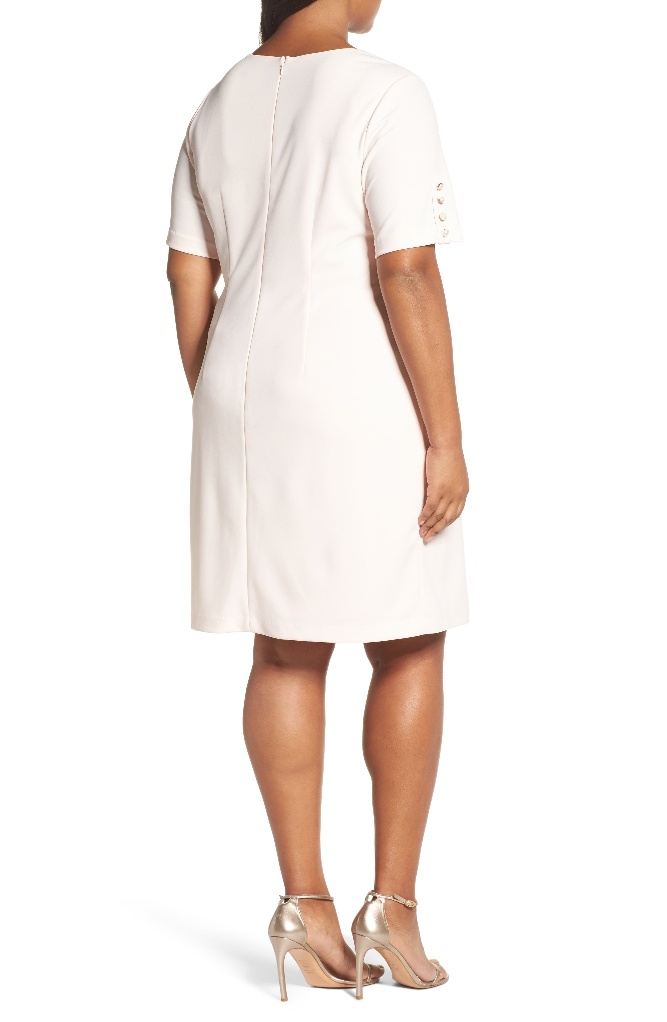 Alternate Image 2  - Adrianna Papell Button Sleeve Shift Dress (Plus Size)