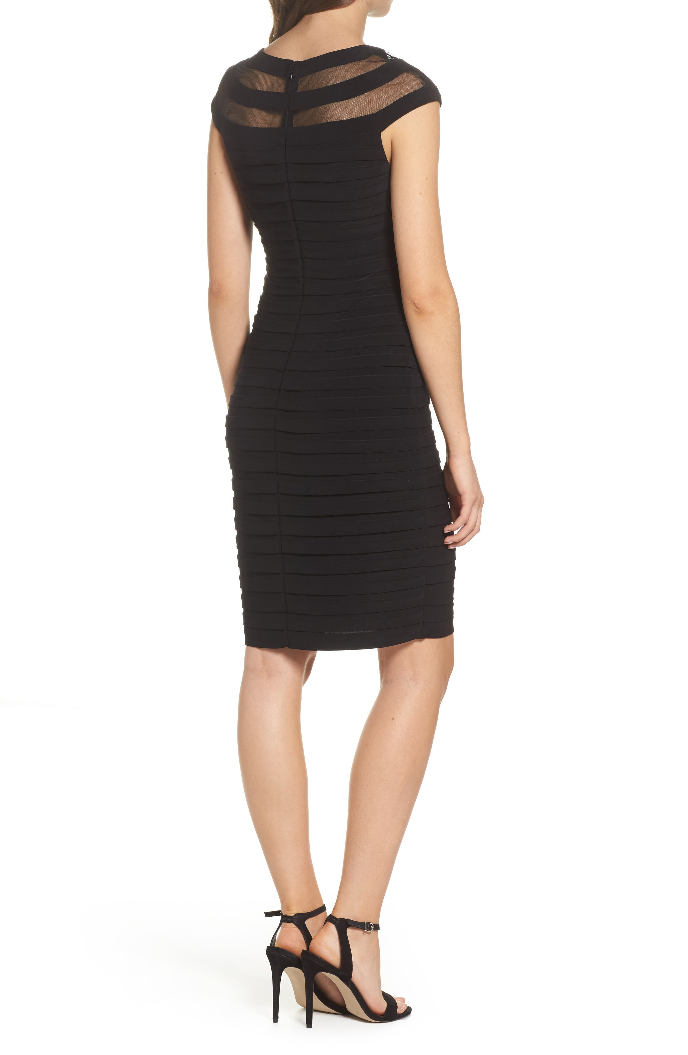 Banded Jersey Sheath Dress,                             Alternate thumbnail 2, color,                             Black
