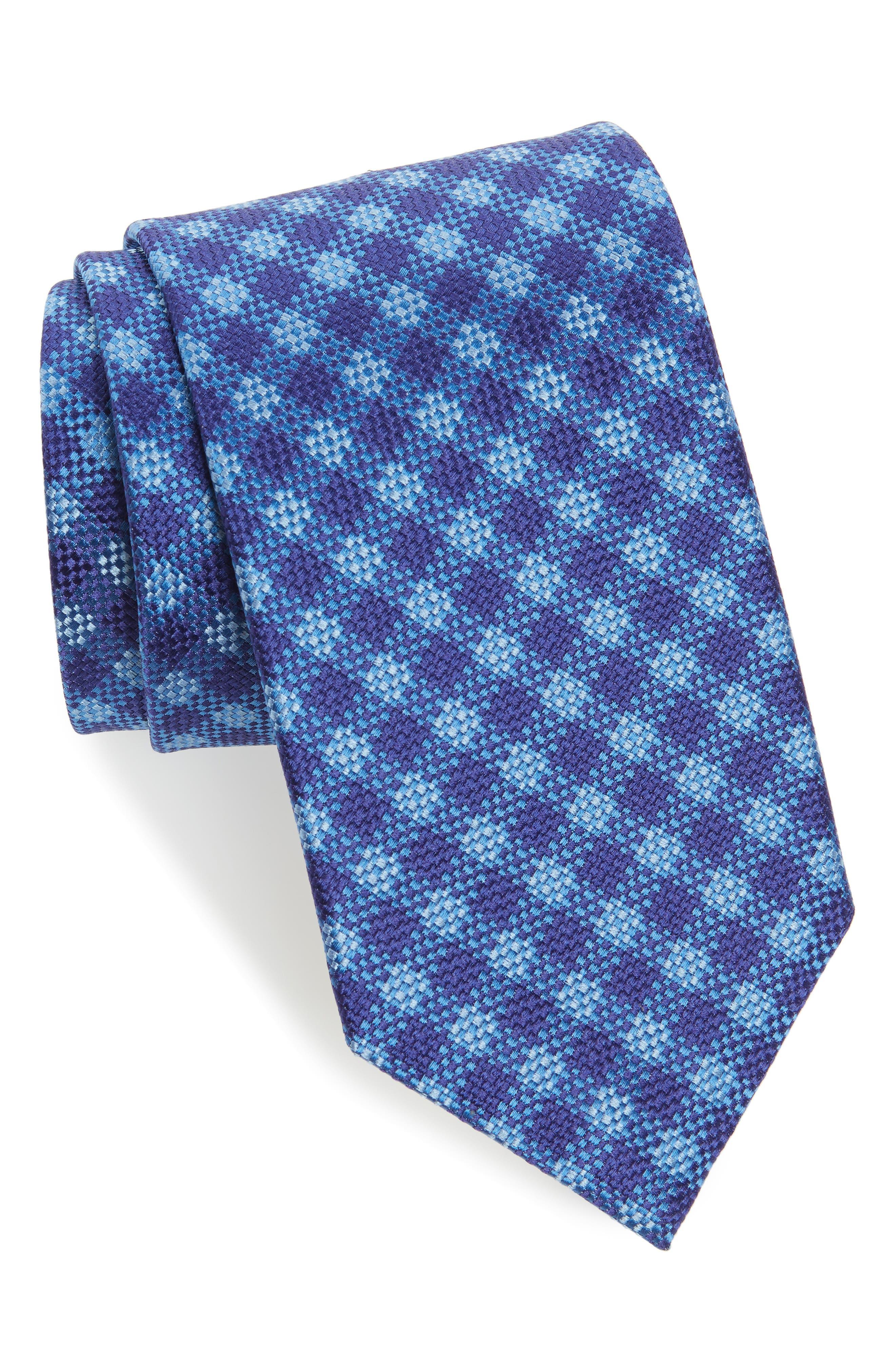David Donahue Check Silk Tie