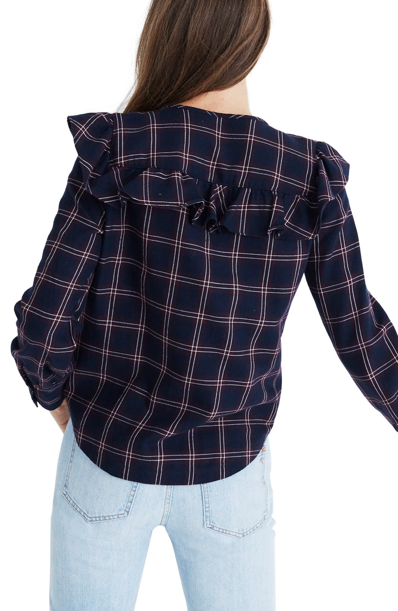 Plaid Ruffle Yoke Top,                             Alternate thumbnail 2, color,                             Berkshire Plaid Deep Navy
