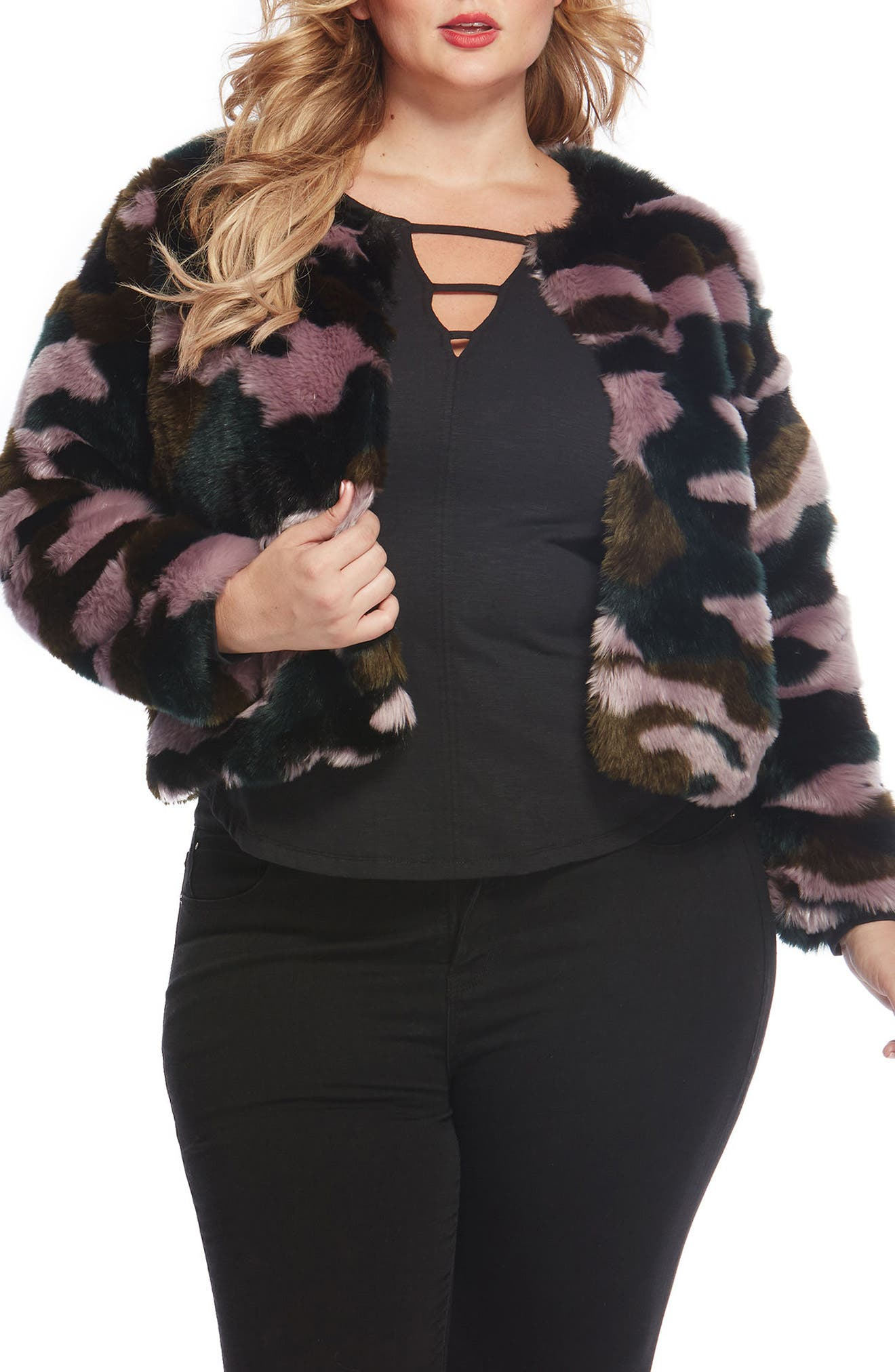 Alternate Image 1 Selected - REBEL WILSON X ANGELS Faux Fur Jacket (Plus Size)