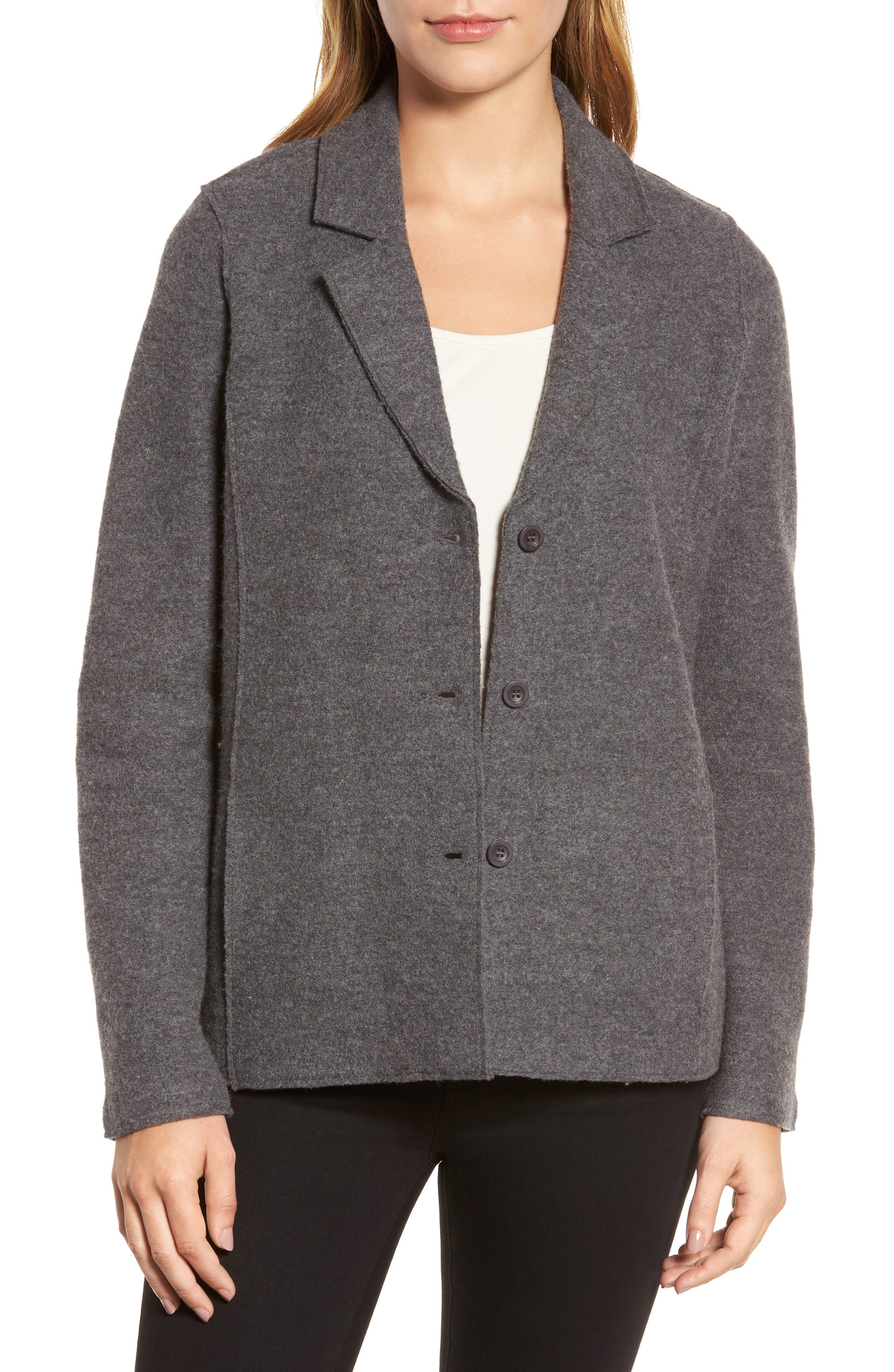 Notch Collar Merino Wool Jacket,                         Main,                         color, Ash