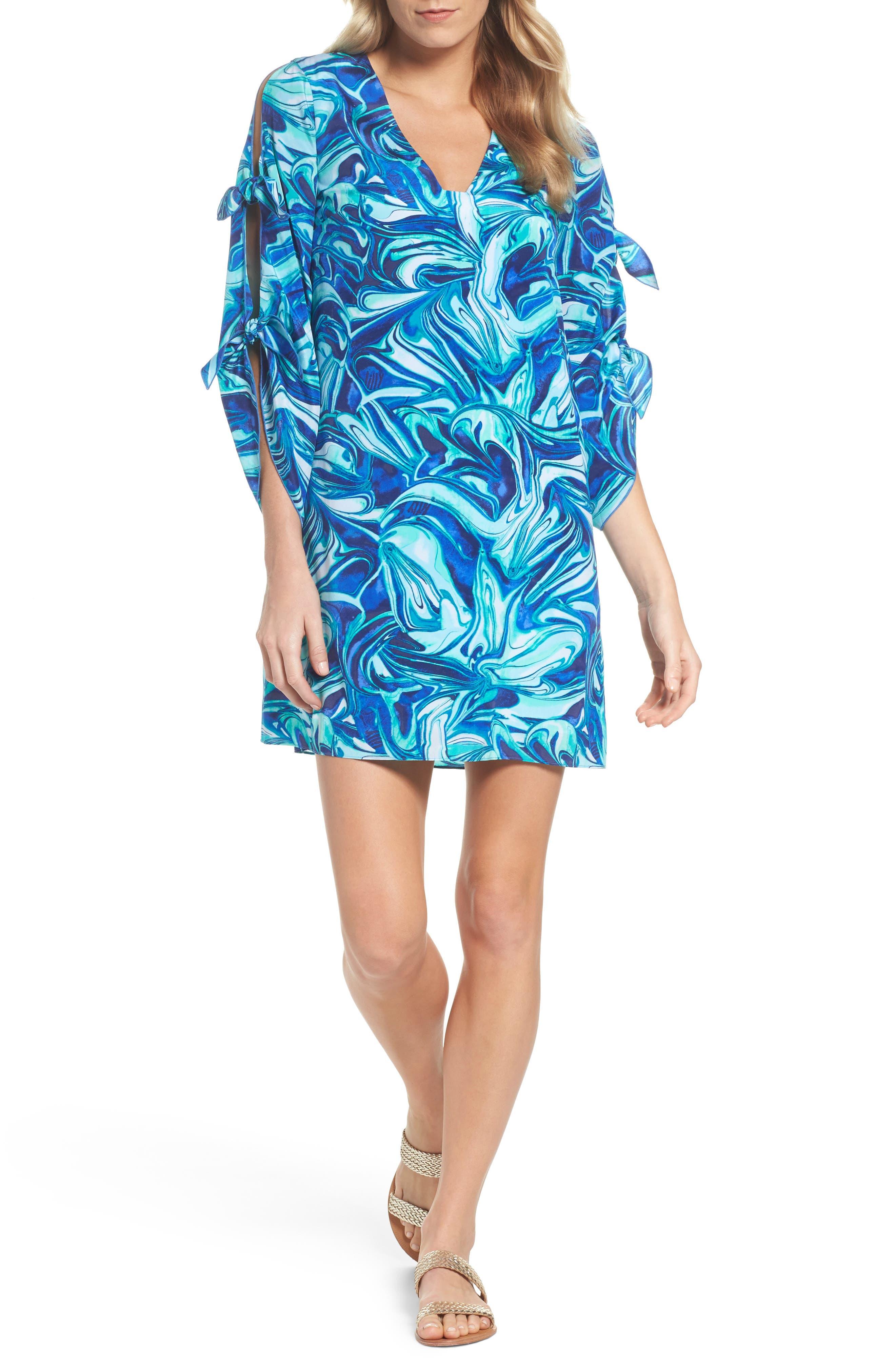 Avila Shift Dress,                         Main,                         color, Ikat Blue Ocean Waves