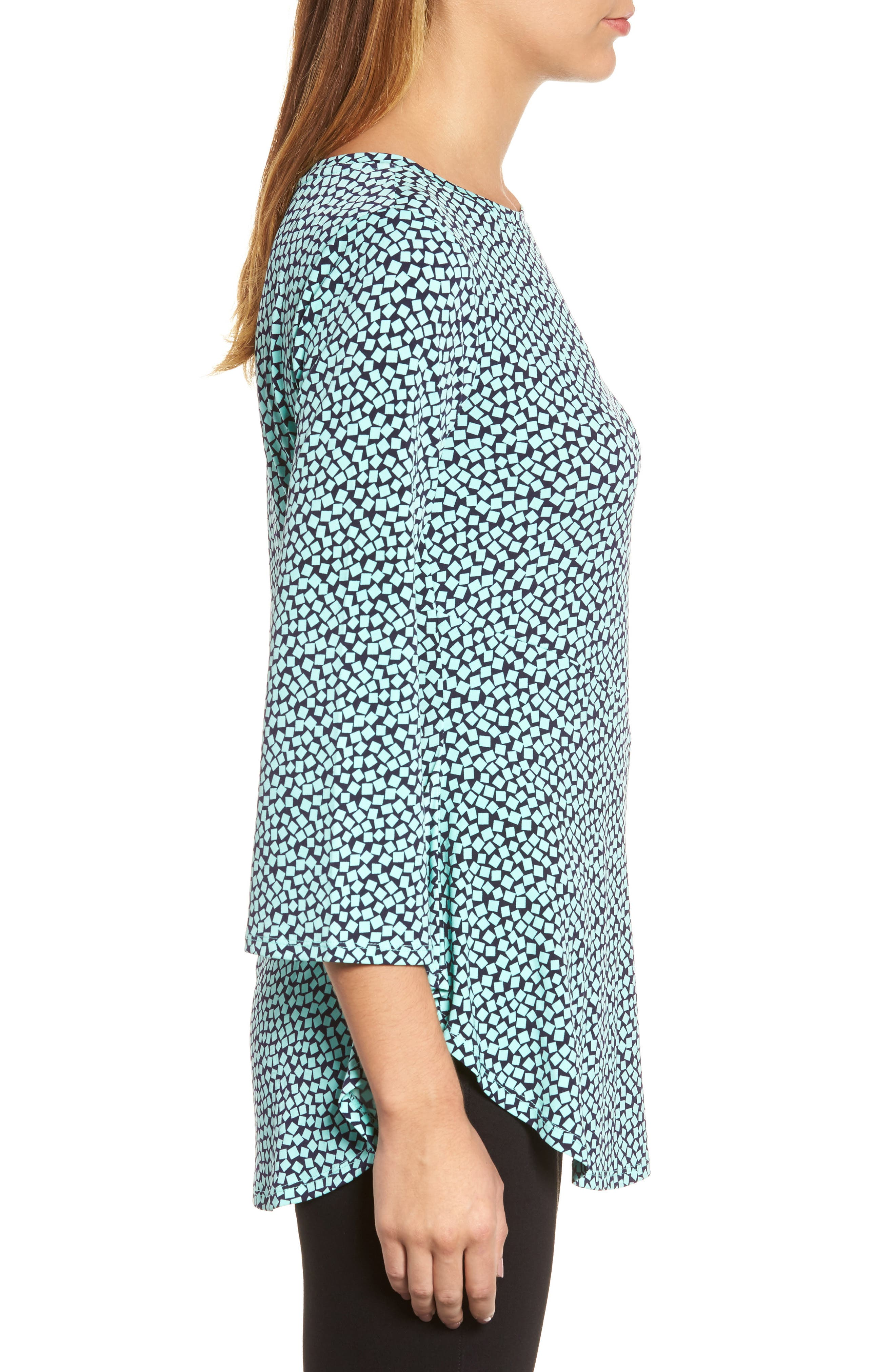 Bell Sleeve Cube Print Top,                             Alternate thumbnail 3, color,                             Sea Glass