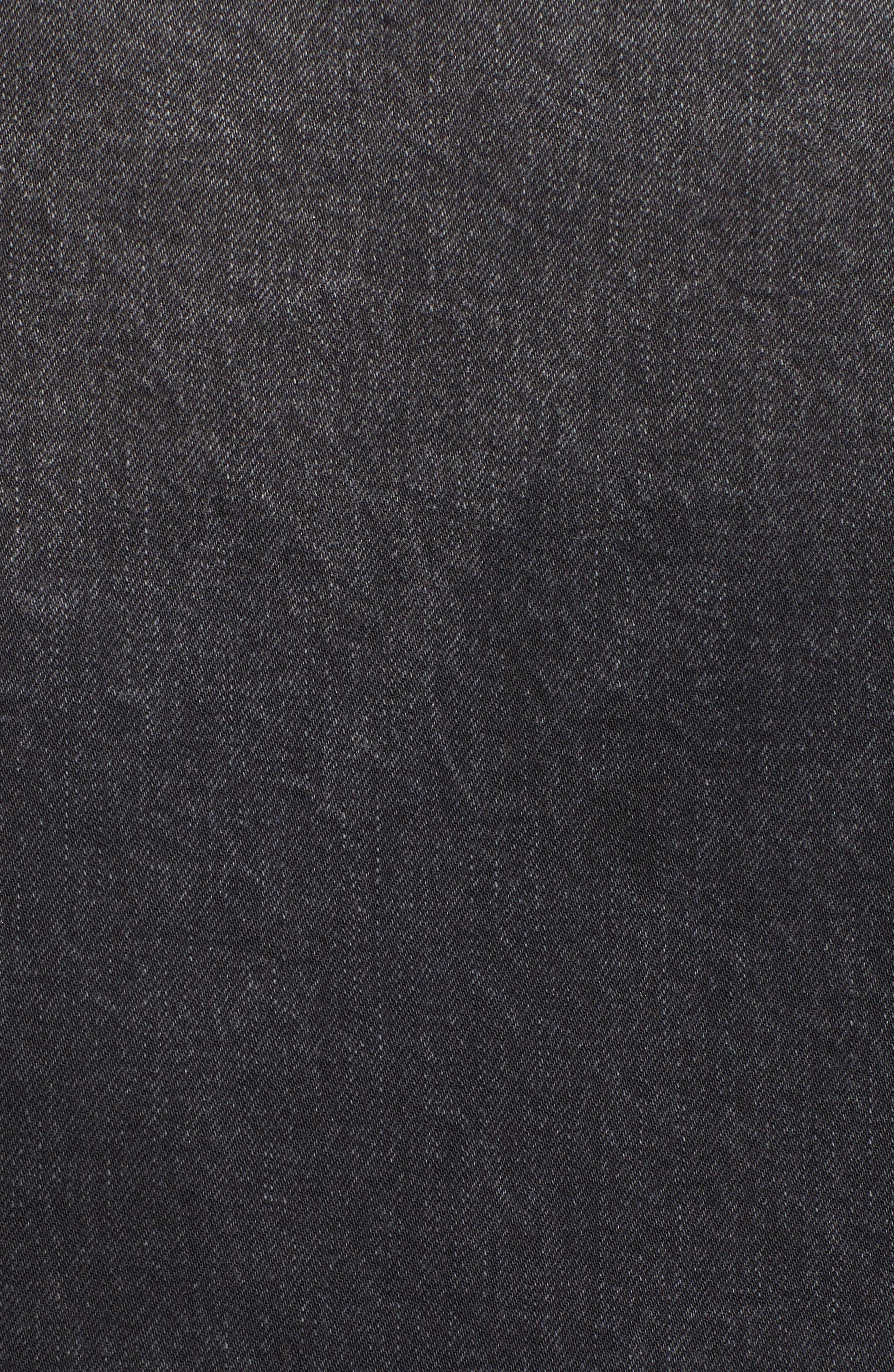 Imitation Pearl Detail Boyfriend Denim Jacket,                             Alternate thumbnail 5, color,                             Stone Wash