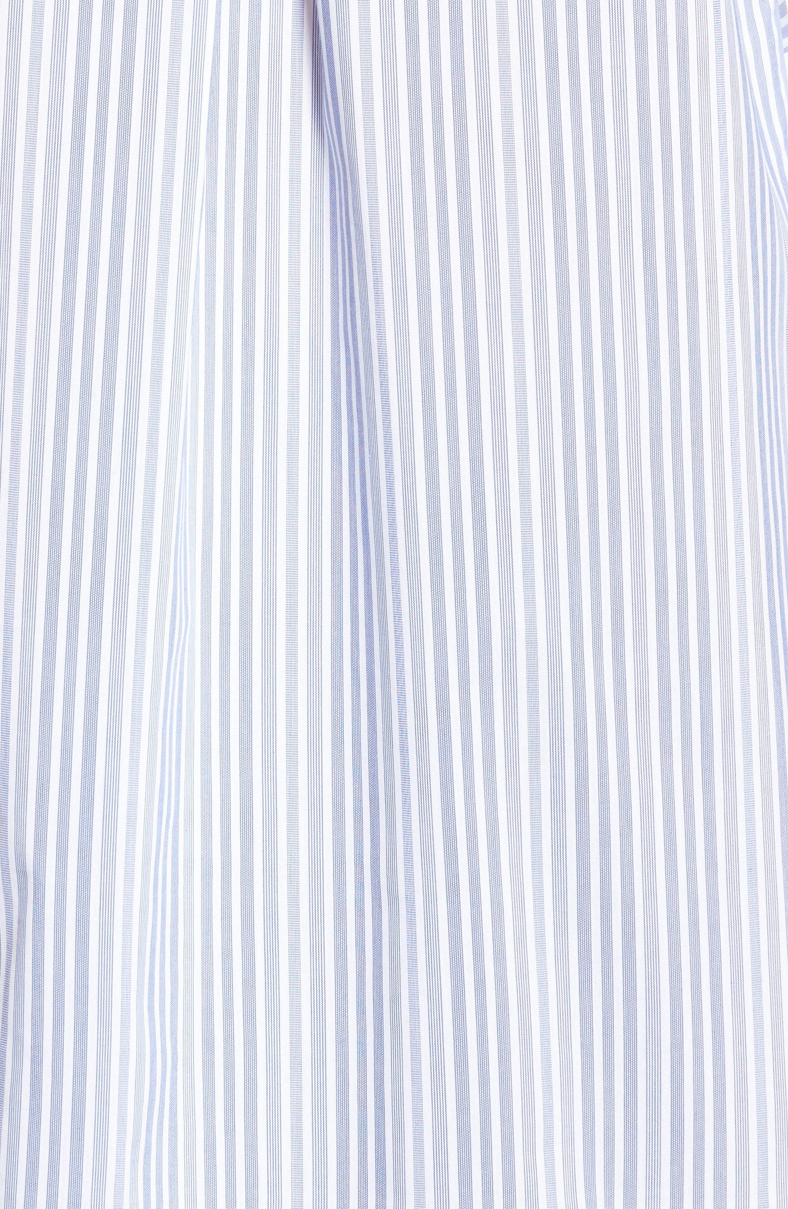 Pocket Detail Stripe Tunic Top,                             Alternate thumbnail 5, color,                             Blue- White Stripe