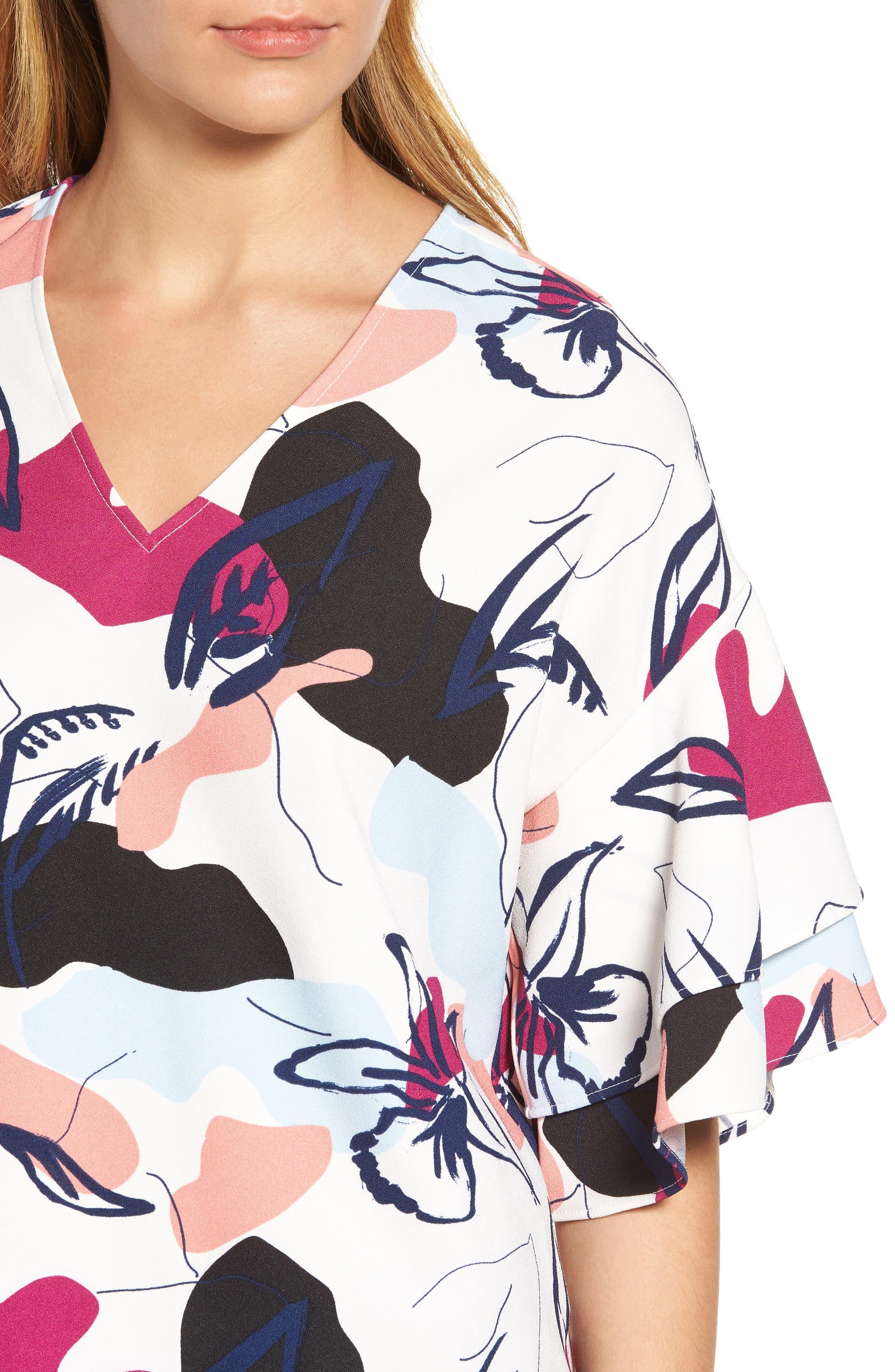 Ruffle Sleeve Blouse,                             Alternate thumbnail 4, color,                             White- Purple Floral