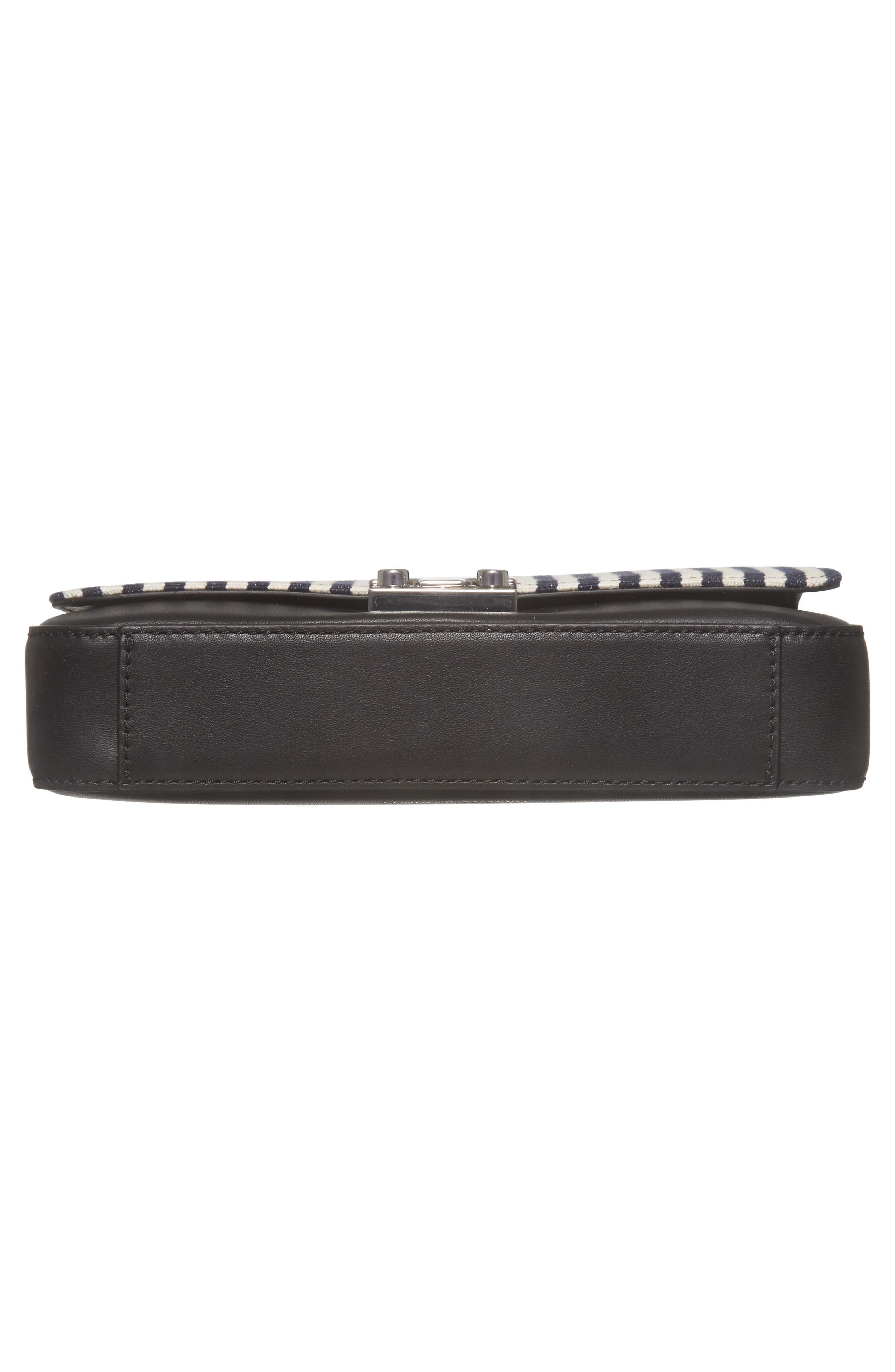 Lock Stripe Clutch/Shoulder Bag,                             Alternate thumbnail 6, color,                             White/ Eclipse